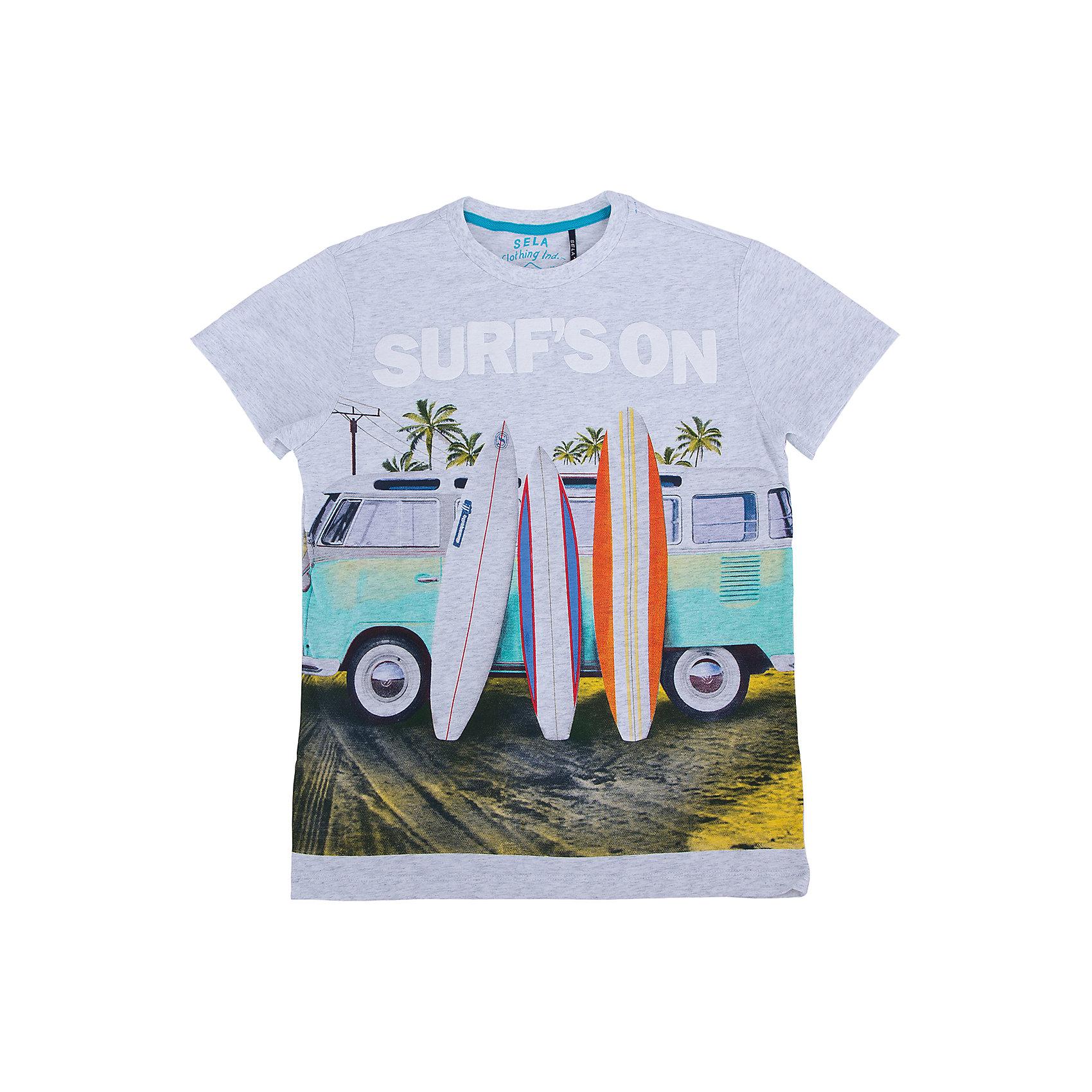 Футболка для мальчика SELAСтильная футболка для мальчика от популярного бренда SELA. Изделие выполнено из натурального гипоаллергенного трикотажа, очень мягкого, дышащего и приятного к телу, и обладает следующими особенностями:<br>- эффектный принт;<br>- эластичная отделка горловины;<br>- комфортный крой;<br>- базовая модель.<br>Великолепный выбор для активного лета!<br><br>Дополнительная информация:<br>- состав: 100% хлопок<br>- цвет: мультиколор<br><br>Футболку для мальчика SELA (СЕЛА) можно купить в нашем магазине<br><br>Ширина мм: 230<br>Глубина мм: 40<br>Высота мм: 220<br>Вес г: 250<br>Цвет: серый<br>Возраст от месяцев: 132<br>Возраст до месяцев: 144<br>Пол: Мужской<br>Возраст: Детский<br>Размер: 152,116,122,128,134,140,146<br>SKU: 4741287