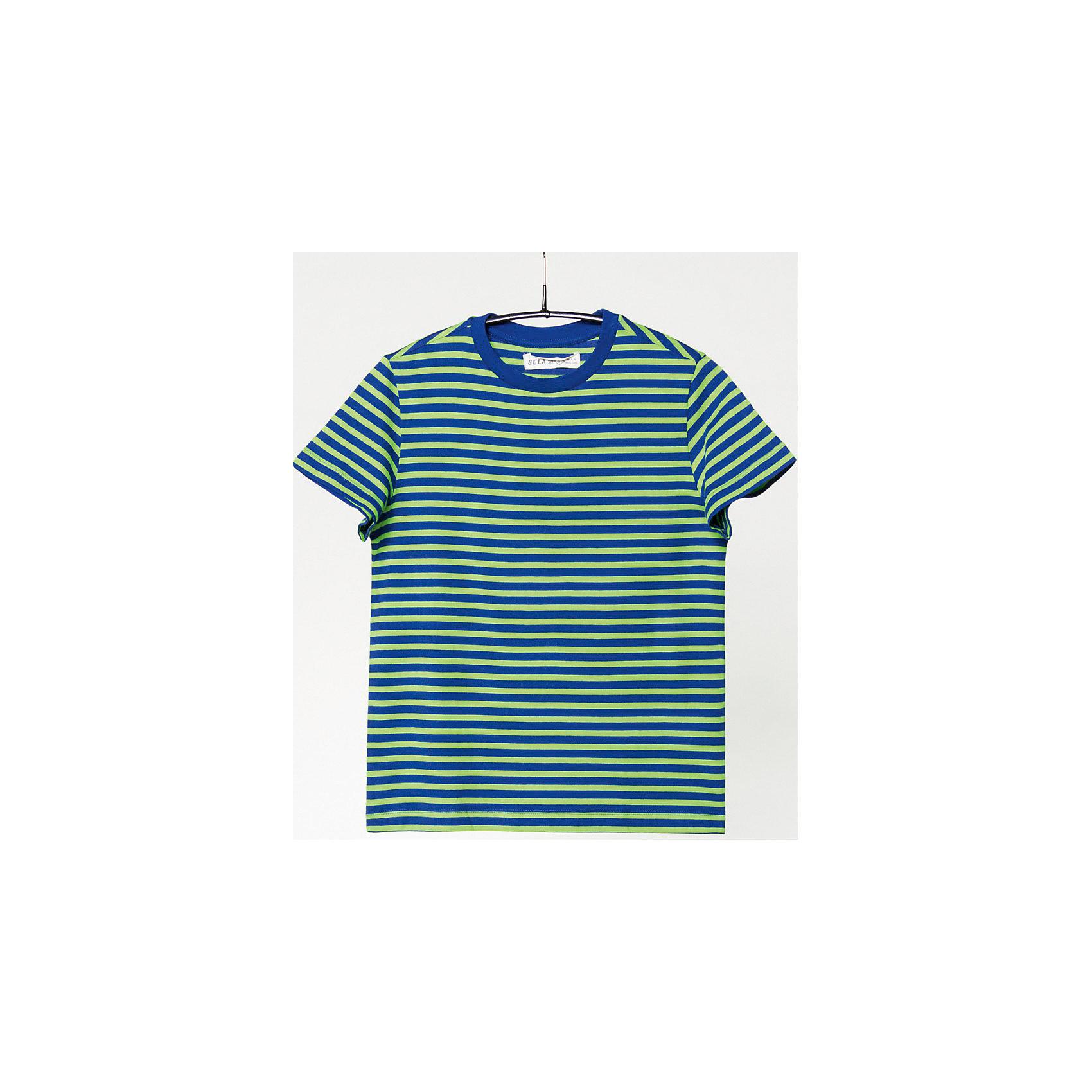 Футболка для мальчика SELAФутболки, поло и топы<br>Прекрасная футболка для мальчика от популярного бренда SELA. Изделие выполнено из натурального гипоаллергенного трикотажа, очень мягкого, дышащего и приятного к телу, и обладает следующими особенностями:<br>- позитивный полосатый принт;<br>- эластичная отделка горловины;<br>- комфортный крой;<br>- базовая модель.<br>Великолепный выбор для активного лета!<br><br>Дополнительная информация:<br>- состав: 100% хлопок<br>- цвет: зеленый + синий<br><br>Футболку для мальчика SELA можно купить в нашем магазине<br><br>Ширина мм: 230<br>Глубина мм: 40<br>Высота мм: 220<br>Вес г: 250<br>Цвет: зеленый<br>Возраст от месяцев: 72<br>Возраст до месяцев: 84<br>Пол: Мужской<br>Возраст: Детский<br>Размер: 122,152,116,128,134,140,146<br>SKU: 4741319