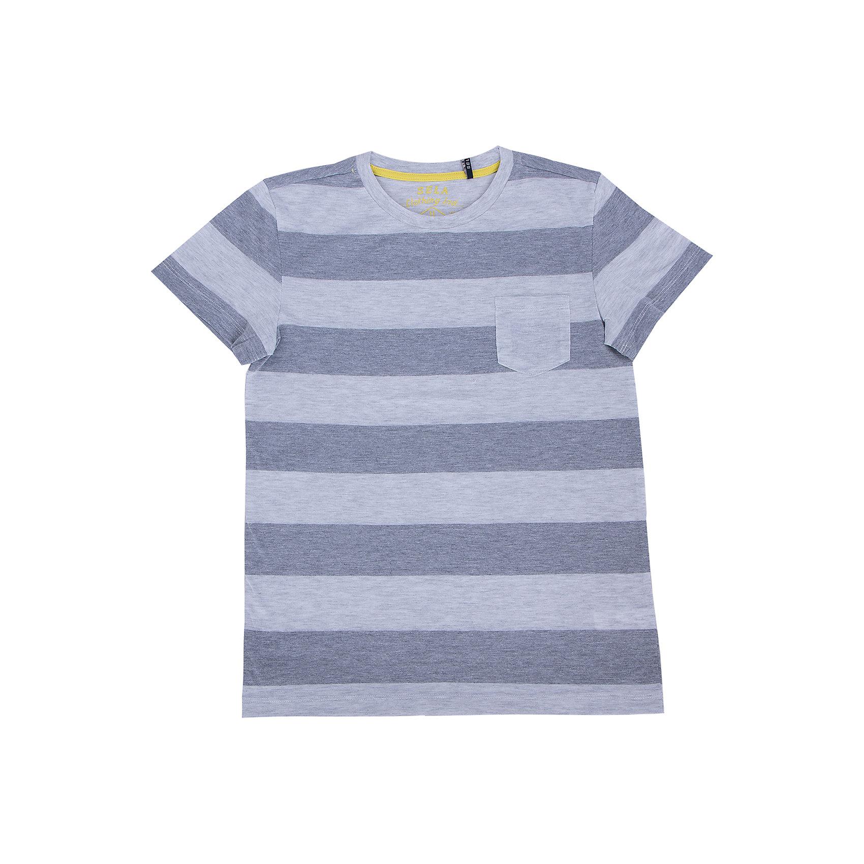 Футболка  для мальчика SELAУдобная стильная футболка от известной марки SELА поможет разнообразить летний гардероб мальчика, создать легкий подходящий погоде ансамбль. Удобный крой и качественный материал обеспечат ребенку комфорт при ношении этой вещи. <br>На горловине изделия - мягкая окантовка. Материал содержит натуральный хлопок, дышащий и гипоаллергенный. Футболка декорирована маленьким карманом на груди.<br><br>Дополнительная информация:<br><br>материал: 100% хлопок;<br>цвет: серый;<br>декорирована кармашком;<br>короткие рукава;<br>круглый горловой вырез;<br>уход за изделием: стирка в машине при температуре до 30°С, не отбеливать, гладить при низкой температуре.<br><br>Футболку от бренда SELА (Села) можно купить в нашем магазине.<br><br>Ширина мм: 230<br>Глубина мм: 40<br>Высота мм: 220<br>Вес г: 250<br>Цвет: серый<br>Возраст от месяцев: 120<br>Возраст до месяцев: 132<br>Пол: Мужской<br>Возраст: Детский<br>Размер: 152,146,116,122,128,134,140<br>SKU: 4741343