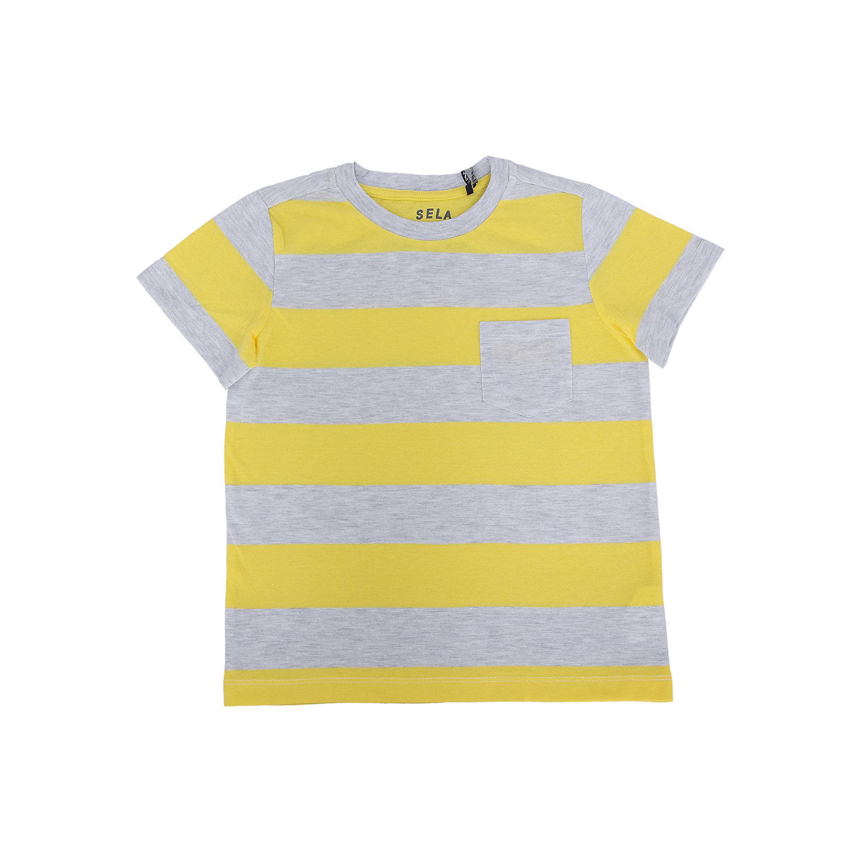 Футболка для мальчика SELAСтильная футболка от известной марки SELА поможет разнообразить летний гардероб мальчика, создать легкий подходящий погоде ансамбль. Удобный крой и качественный материал обеспечат ребенку комфорт при ношении этой вещи. <br>На горловине изделия - мягкая окантовка. Материал содержит  натуральный хлопок, дышащий и гипоаллергенный. <br><br>Дополнительная информация:<br><br>материал: 60% хлопок, 40% ПЭ;<br>цвет: желтый;<br>короткие рукава;<br>круглый горловой вырез;<br>уход за изделием: стирка в машине при температуре до 30°С, не отбеливать, гладить при низкой температуре.<br><br>Футболку от бренда SELА (Села) можно купить в нашем магазине.<br><br>Ширина мм: 230<br>Глубина мм: 40<br>Высота мм: 220<br>Вес г: 250<br>Цвет: желтый<br>Возраст от месяцев: 132<br>Возраст до месяцев: 144<br>Пол: Мужской<br>Возраст: Детский<br>Размер: 152,116,122,128,134,140,146<br>SKU: 4741351