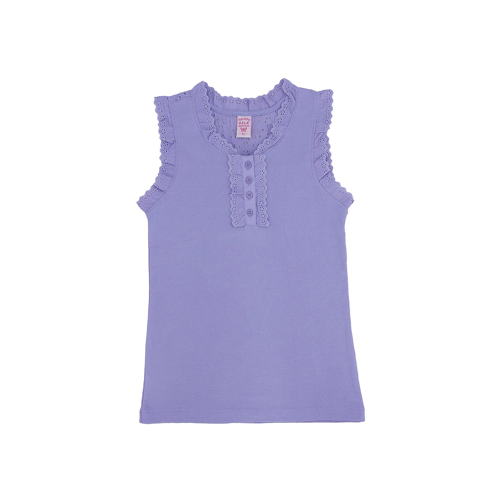Майка для девочки SELAНежная и легкая майка для девочки от популярного бренда SELA. Изделие выполнено из натурального гипоаллергенного материала, тонкого, легкого, дышащего и приятного к телу, и обладает следующими особенностями:<br>- сиреневый цвет, привлекательный дизайн;<br>- воздушная отделка рюшами из шитья в тон;<br>- комфортный крой.<br>Прекрасный выбор для жарких дней!<br><br>Дополнительная информация:<br>- состав: 100% хлопок<br>- цвет: сиреневый<br><br>Майку для девочки SELA можно купить в нашем магазине<br><br>Ширина мм: 196<br>Глубина мм: 10<br>Высота мм: 154<br>Вес г: 152<br>Цвет: фиолетовый<br>Возраст от месяцев: 84<br>Возраст до месяцев: 96<br>Пол: Женский<br>Возраст: Детский<br>Размер: 128,152,116,122,134,140,146<br>SKU: 4741411
