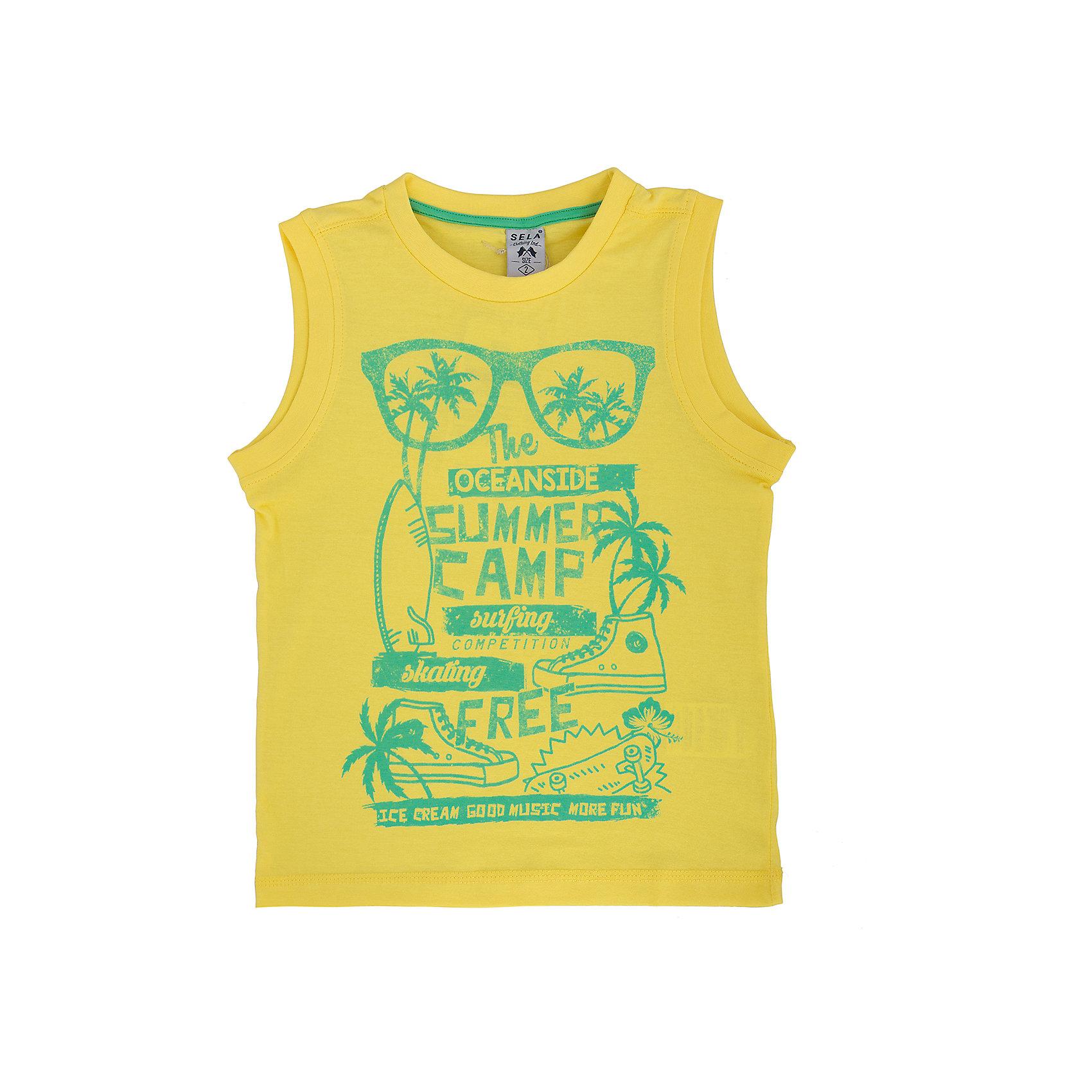 Майка для мальчика SELAМодная майка для мальчика от популярного бренда SELA. Изделие выполнено из натурального гипоаллергенного трикотажа, очень мягкого, дышащего и приятного к телу, и обладает следующими особенностями:<br>- желтый цвет, эффектный принт на груди;<br>- эластичная отделка горловины и проймы;<br>- комфортный крой, гарантирующий свободу движений.<br>Великолепный выбор для активного лета!<br><br>Дополнительная информация:<br>- состав: 100% хлопок<br>- цвет: желтый + принт<br><br>Майку для мальчика SELA (СЕЛА) можно купить в нашем магазине<br><br>Ширина мм: 196<br>Глубина мм: 10<br>Высота мм: 154<br>Вес г: 152<br>Цвет: желтый<br>Возраст от месяцев: 36<br>Возраст до месяцев: 48<br>Пол: Мужской<br>Возраст: Детский<br>Размер: 104,116,92,98,110<br>SKU: 4741439