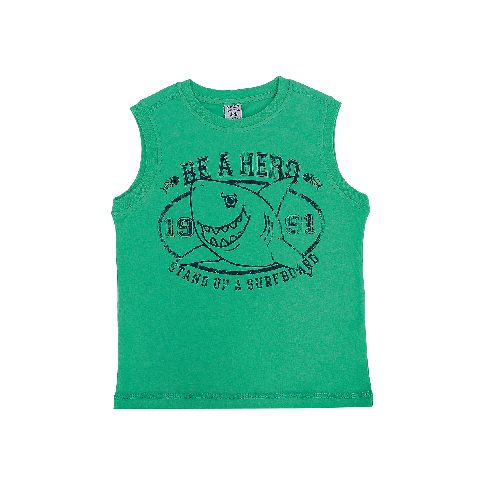 Майка для мальчика SELAМайка для мальчика от известного бренда SELA выполнена из высококачественного хлопка, очень приятна к телу, не растягивается и отлично пропускает воздух. Модель оформлена печатным принтом в виде веселой акулы. Прекрасный вариант на лето! <br><br>Дополнительная информация:<br><br>- Мягкий, приятный на ощупь материал. <br>- Округлый вырез горловины.<br>- Горловина и пройма в рубчик. <br>- Декорирована печатным принтом. <br>- Покрой: прямой. <br>Состав: <br>- хлопок 100% .<br><br>Майку для мальчика, SELA (Села), можно купить в нашем магазине.<br><br>Ширина мм: 196<br>Глубина мм: 10<br>Высота мм: 154<br>Вес г: 152<br>Цвет: зеленый<br>Возраст от месяцев: 36<br>Возраст до месяцев: 48<br>Пол: Мужской<br>Возраст: Детский<br>Размер: 104,116,92,98,110<br>SKU: 4741457