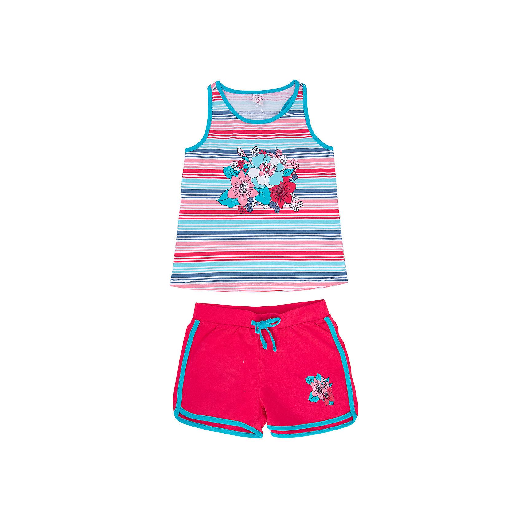Комплект: майка и шорты для девочки SELAЯркий комплект для девочки от популярного бренда SELA непременно порадует Вашу модницу!  Майка и шортики, выполненные в единой цветовой гамме, создают активный летний образ. Прекрасный вариант для веселых и беззаботных приключений!<br><br>Дополнительная информация:<br>- комплект: майка и шорты;<br>-  майка-борцовка прилегающего фасона с очаровательным цветочным принтом на груди;<br>- короткие шортики насыщенного цвета на эластичном поясе с контрастной кулиской, лампасами и задними кармашками;<br>- цвет: красный + белый + голубой<br>- состав: 95% хлопок, 5% эластан<br><br>Комплект для девочки SELA (СЕЛА) можно купить в нашем магазине<br><br>Ширина мм: 215<br>Глубина мм: 88<br>Высота мм: 191<br>Вес г: 336<br>Цвет: красный<br>Возраст от месяцев: 60<br>Возраст до месяцев: 72<br>Пол: Женский<br>Возраст: Детский<br>Размер: 92,116,110,104,98<br>SKU: 4741515