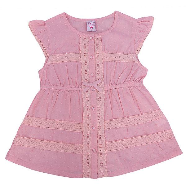 Блузка для девочки SELAБлузки и рубашки<br>Блузка для девочки от известной марки SELA займет достойное место в гардеробе юной модницы. Блузка выполнена из натурального хлопка, застегивается на пуговицы спереди, декорирована нежным кружевом и маленьким бантиком. <br><br>Дополнительная информация:<br><br>- Приятный на ощупь материал. <br>- Короткий рукав-крылышко. <br>- Нежное кружево.<br>- Типа застежки: пуговицы. <br>- Крой: трапеция. <br>Состав: <br>- 100% хлопок.<br><br>Блузка для девочки, SELA (Села), можно купить в нашем магазине.<br>Ширина мм: 186; Глубина мм: 87; Высота мм: 198; Вес г: 197; Цвет: розовый; Возраст от месяцев: 18; Возраст до месяцев: 24; Пол: Женский; Возраст: Детский; Размер: 92,116,110,104,98; SKU: 4741557;