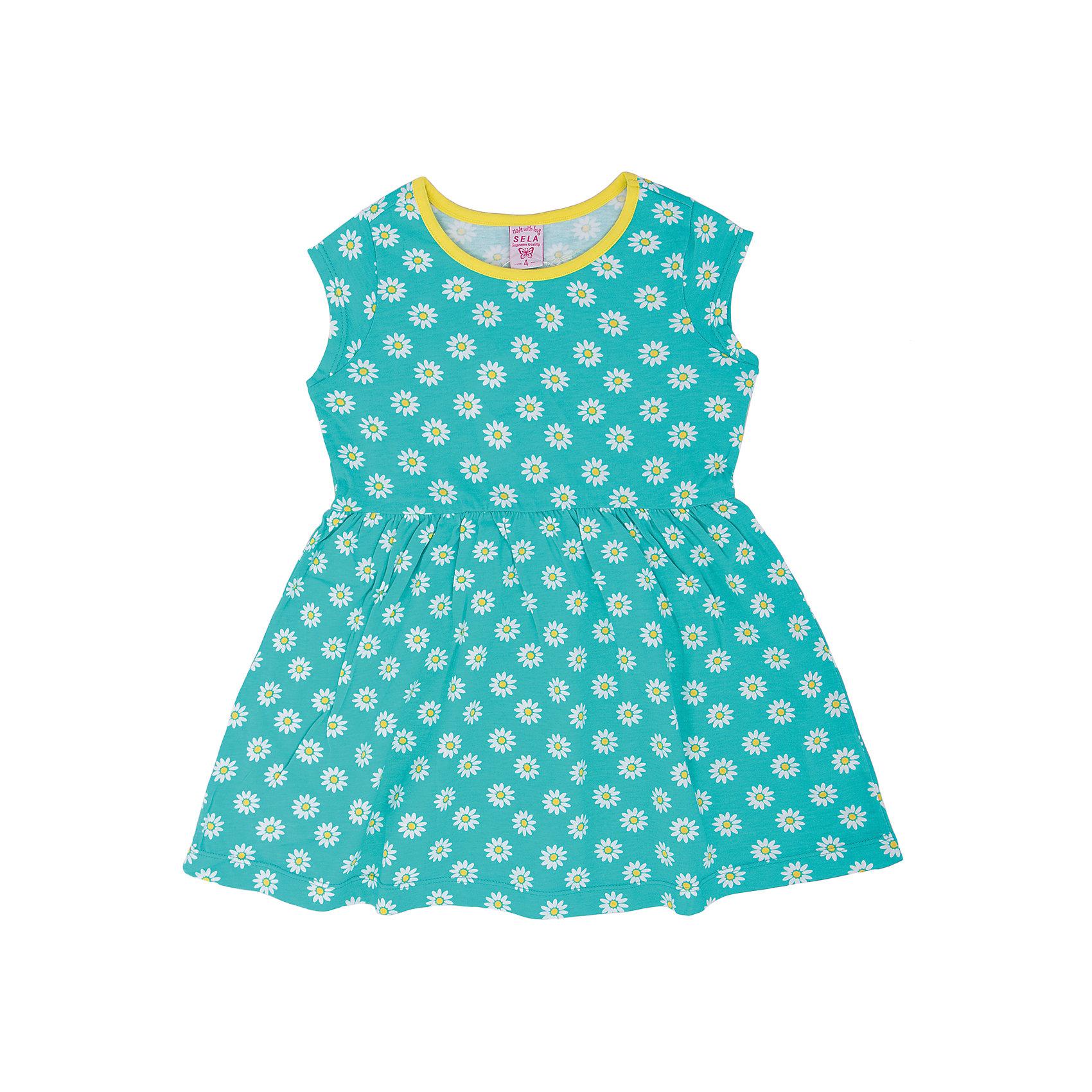 Платье для девочки SELAОчаровательное платье от известного бренда SELA - прекрасный вариант для юных модниц! Модель выполнена из натурального хлопка, прекрасно смотрится на фигуре и отлично пропускает воздух. Идеальный вариант для летнего гардероба девочки.<br><br>Дополнительная информация:<br><br>- Мягкий, приятный на ощупь материал. <br>- Округлый вырез горловины.<br>- Короткий рукав.<br>- Оригинальный принт.<br>- Покрой: прямой.<br>Состав: <br>- хлопок 100% .<br><br>Платье для девочки, SELA (Села), можно купить в нашем магазине.<br><br>Ширина мм: 236<br>Глубина мм: 16<br>Высота мм: 184<br>Вес г: 177<br>Цвет: голубой<br>Возраст от месяцев: 36<br>Возраст до месяцев: 48<br>Пол: Женский<br>Возраст: Детский<br>Размер: 104,110,98,116<br>SKU: 4741580