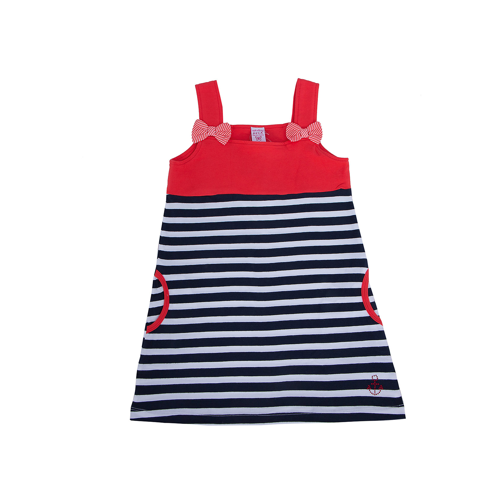 Платье для девочки SELAЯркое платье - прекрасный вариант на лето! Модель на широких бретелях декорирована небольшими бантиками и контрастной отделкой карманов. Платье выполнено из высококачественных материалов, отлично смотрится на фигуре, не вытягивается во время носки или же после стирки. Прекрасный вариант для юных модниц! <br><br>Дополнительная информация:<br><br>- Мягкий, приятный на ощупь материал. <br>- На бретелях.<br>- В полоску, контрастный верх.<br>- Отделка карманов.<br>- Бантики на бретелях.<br>- 2 кармана по бокам. <br>- Покрой: прямой, свободный. <br>Состав: <br>- хлопок 95% , эластан 5%.<br><br>Платье для девочки, SELA (Села), можно купить в нашем магазине.<br><br>Ширина мм: 236<br>Глубина мм: 16<br>Высота мм: 184<br>Вес г: 177<br>Цвет: красный<br>Возраст от месяцев: 48<br>Возраст до месяцев: 60<br>Пол: Женский<br>Возраст: Детский<br>Размер: 92,110,116,104,98<br>SKU: 4741585