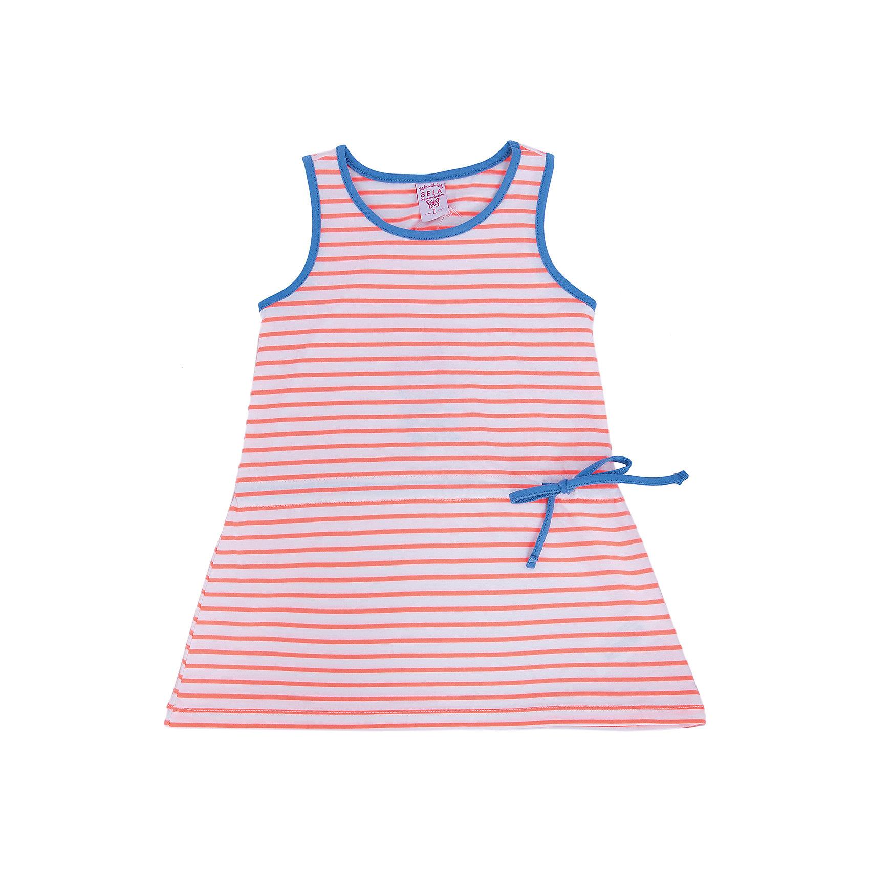 Платье для девочки SELAПлатья и сарафаны<br>Платье от известной марки SELА поможет разнообразить летний гардероб девочки, создать нарядный или повседневный образ. Удобный крой и качественный материал обеспечат ребенку комфорт при ношении этой вещи. <br>На горловине изделия - мягкая окантовка. Силуэт - стильный,  расширенный к низу. Приятная на ощупь ткань не вызывает аллергии.<br><br>Дополнительная информация:<br><br>материал: 66% хлопок, 29% ПЭ, 5% эластан;<br>цвет: разноцветный;<br>длина выше колен;<br>без рукавов;<br>силуэт расширенный к низу;<br>круглый горловой вырез;<br>уход за изделием: стирка в машине при температуре до 30°С, не отбеливать, гладить при низкой температуре.<br><br>Платье от бренда SELА (Села) можно купить в нашем магазине.<br><br>Ширина мм: 236<br>Глубина мм: 16<br>Высота мм: 184<br>Вес г: 177<br>Цвет: оранжевый<br>Возраст от месяцев: 36<br>Возраст до месяцев: 48<br>Пол: Женский<br>Возраст: Детский<br>Размер: 104,110,116,92,98<br>SKU: 4741591