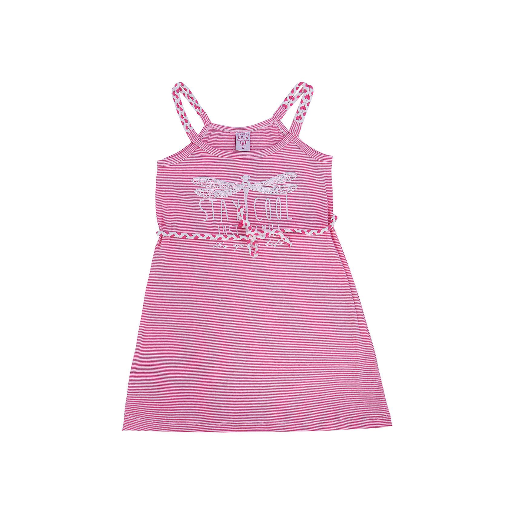 Платье для девочки SELAПлатья и сарафаны<br>Стильное платье для девочки от популярного бренда SELA. Изделие выполнено из высококачественного трикотажа, мягкого, эластичного и приятного к телу, и обладает следующими особенностями:<br>- розовый цвет, актуальный принт полоска;<br>- эффектные бретели и пояс-шнурок;<br>- без рукавов;<br>- округлый вырез горловины;<br>- А-силуэт;<br>- комфортный крой, обеспечивающий свободу движения.<br>Прекрасный выбор для летних дней!<br><br>Дополнительная информация:<br>- состав: 95% хлопок, 5% эластан<br>- цвет: розовый + белый<br><br>Платье для девочки SELA (СЕЛА) можно купить в нашем магазине<br><br>Ширина мм: 236<br>Глубина мм: 16<br>Высота мм: 184<br>Вес г: 177<br>Цвет: розовый<br>Возраст от месяцев: 108<br>Возраст до месяцев: 120<br>Пол: Женский<br>Возраст: Детский<br>Размер: 140,146,152,128,134,116,122<br>SKU: 4741605