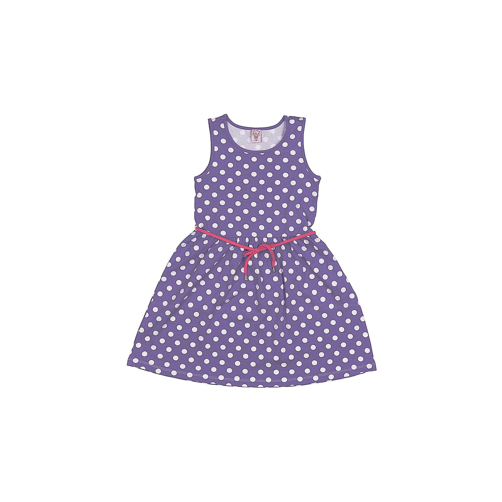 Платье для девочки SELAМилое платьице для девочки от популярного бренда SELA. Изделие выполнено из высококачественного трикотажа, мягкого, эластичного и приятного к телу, и обладает следующими особенностями:<br>- фиолетовый цвет, актуальный принт горох;<br>- контрастный пояс-шнурок;<br>- без рукавов;<br>- округлый вырез горловины;<br>- А-силуэт;<br>- комфортный крой, обеспечивающий свободу движения.<br>Прекрасный выбор для летних дней!<br><br>Дополнительная информация:<br>- состав: 95% хлопок, 5% эластан<br>- цвет: фиолетовый + белый<br><br>Платье для девочки SELA (СЕЛА) можно купить в нашем магазине<br><br>Ширина мм: 236<br>Глубина мм: 16<br>Высота мм: 184<br>Вес г: 177<br>Цвет: фиолетовый<br>Возраст от месяцев: 132<br>Возраст до месяцев: 144<br>Пол: Женский<br>Возраст: Детский<br>Размер: 152,140,146,116,122,128,134<br>SKU: 4741621