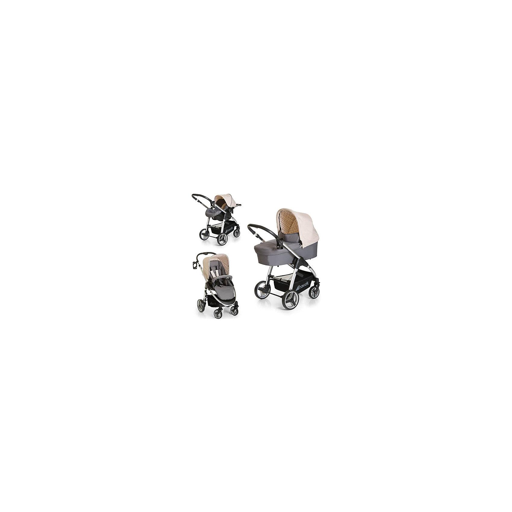 Коляска 3 в 1 Lacrosse Trioset, Hauck, dots greyЛучший первый транспорт для Вашего малыша - коляска 3 в 1  Lacrosse Trioset от известного немецкого бренда Hauck. Данная модель предназначена для использования от 0 до 3 лет, характеризуется настоящим немецким качеством и обладает следующими особенностями:<br>- легкая, маневренная, удобная, безопасная<br>- в комплекте: глубокая уютная люлька, автокресло категории 0+ с вкладышем для новорожденного, 5-точечными ремнями безопасности и защитным капюшоном, прогулочный блок с бампером<br>- удобная телескопическая ручка<br>- прекрасная амортизация<br>- большие съемные колеса, справляющиеся с любой дорогой; передние колеса поворачиваются на 360 градусов, что облегчает маневренность, при желании их можно зафиксировать <br>- легкая и прочная алюминиевая рама<br>- люлька и автолюлька крепятся к раме с помощью системы  Easy-Fix<br>- прогулочный блок можно установить лицом к маме и лицом от мамы<br>- большой капюшон надежно защищает от солнца и непогоды<br>- вместительная корзина для покупок<br>- удобный ножной тормоз на задней оси<br>- стильная накидка на ноги<br>- нежная расцветка dots grey.<br>Великолепный выбор для самого любимого малыша!<br><br>Дополнительная информация:<br>- вес рамы: 7,4 кг<br>- вес коляски: 11,7 кг<br>- размеры в сложенном виде: 85 x 63 x 34 cm<br>- размеры в собранном виде: 86 x 63 x 104 cm<br>- внутренние размеры люльки: 76 x 33 x 19 cm<br>- ширина сиденья: 30 cm<br>- прогулочный блок имеет горизонтальное положение, длина: 90 cm<br>- ширина автокресла: 25 cm<br>- высота для прогулочного блока: 49 cm<br>- диаметр задних колес: 23 cm<br>- диаметр передних колес: 16 cm<br>- телескопическая ручка имеет 3 положения и регулируется по высоте 98 -105 cм<br>- размер упаковки: 56 x 56 x 91 cm<br>- вес упаковки: 25,2 kg<br><br>Коляску 3 в 1 Lacrosse Trioset, Hauck, dots grey можно купить в нашем магазине<br><br>Ширина мм: 560<br>Глубина мм: 560<br>Высота мм: 910<br>Вес г: 25200<br>Возраст от месяцев: 0<br>Возраст до