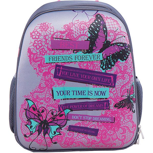Школьный рюкзак КружеваШкольные рюкзаки<br>Модный рюкзак идеально подходит для похода ребенка в школу. Он очень стильно выглядит и может вместить в себя всё необходимое для занятий. Главное - у него жесткая ортопедическая спинка, позволяющая формировать у ребенка правильную осанку, жесткое ударопрочное дно, пластиковые ножки, средняя и боковые части - вспененный формованный микропористый полимер.<br>В рюкзаке - два вместительных отделения, также есть два удобных боковых кармана. Изделие дополнено светоотражающими элементами для повышения безопасности ребенка. На рюкзаке - удобные широкие лямки, петля, ручка для переноса. Застегивается на молнию. Изделие произведено из качественных и безопасных для ребенка материалов.<br><br>Дополнительная информация:<br><br>цвет: серый;<br>материал: нейлон, полиэстер;<br>вес: 770 г;<br>широкие лямки;<br>жесткая ортопедическая спинка;<br>жесткое ударопрочное дно;<br>пластиковые ножки;<br>боковые карманы;<br>размер: 170х380х315 мм.<br><br>Школьный рюкзак Кружева можно купить в нашем магазине.<br>Ширина мм: 170; Глубина мм: 315; Высота мм: 380; Вес г: 770; Возраст от месяцев: 72; Возраст до месяцев: 144; Пол: Женский; Возраст: Детский; SKU: 4743954;