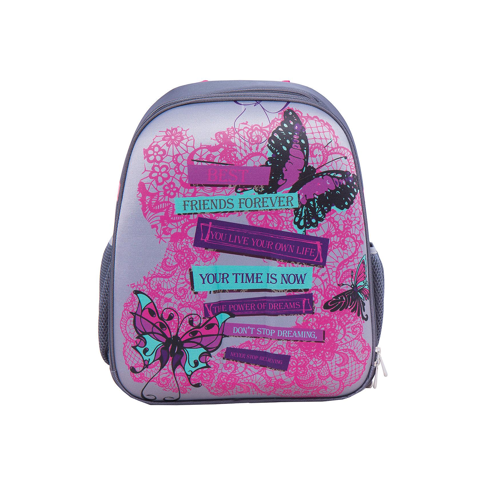 Школьный рюкзак КружеваМодный рюкзак идеально подходит для похода ребенка в школу. Он очень стильно выглядит и может вместить в себя всё необходимое для занятий. Главное - у него жесткая ортопедическая спинка, позволяющая формировать у ребенка правильную осанку, жесткое ударопрочное дно, пластиковые ножки, средняя и боковые части - вспененный формованный микропористый полимер.<br>В рюкзаке - два вместительных отделения, также есть два удобных боковых кармана. Изделие дополнено светоотражающими элементами для повышения безопасности ребенка. На рюкзаке - удобные широкие лямки, петля, ручка для переноса. Застегивается на молнию. Изделие произведено из качественных и безопасных для ребенка материалов.<br><br>Дополнительная информация:<br><br>цвет: серый;<br>материал: нейлон, полиэстер;<br>вес: 770 г;<br>широкие лямки;<br>жесткая ортопедическая спинка;<br>жесткое ударопрочное дно;<br>пластиковые ножки;<br>боковые карманы;<br>размер: 170х380х315 мм.<br><br>Школьный рюкзак Кружева можно купить в нашем магазине.<br><br>Ширина мм: 170<br>Глубина мм: 315<br>Высота мм: 380<br>Вес г: 770<br>Возраст от месяцев: 72<br>Возраст до месяцев: 144<br>Пол: Женский<br>Возраст: Детский<br>SKU: 4743954