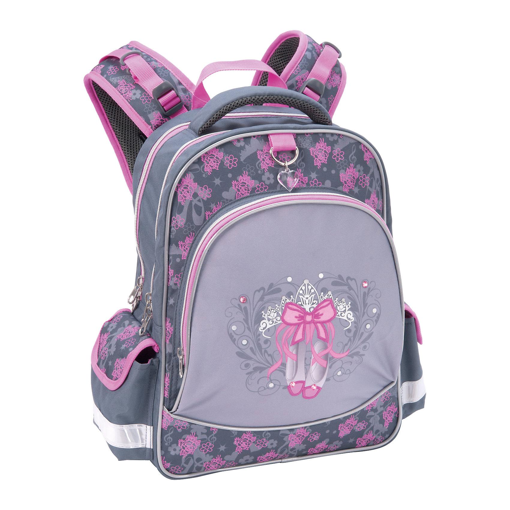 Школьный рюкзак БалетШкольный рюкзак Балет – этот легкий вместительный рюкзак будет надежным спутником для вашей школьницы.<br>Очаровательный рюкзак Балет выполнен в очень нежной серо-розовой цветовой гамме. Внешняя поверхность изделия украшена чудесным принтом, изображающим пуанты, тиару и красивый бант. Коллаж украшен небольшими стразами, предающими изделию изящества и очарования. В верхней части размещена красивая подвеска в виде прозрачного сердечка. У рюкзака эргономичная конструкция спинки из подушечек с вентиляционными каналами, которая не только не дает ребенку сутулиться, но и обеспечивает идеальную вентиляцию для спины. Уплотненные S-образные лямки из вентилируемого сетчатого материала с системой регулирования для изменения положения рюкзака одним движением позволят снизить нагрузку на плечи. Рюкзак имеет 2 отделения, фронтальный карман на молнии, дополнительные боковые карманы, закрывающиеся клапанами на липучках. Во фронтальном кармане предусмотрен органайзер. Дно укреплено пластиковыми ножками и внутренней откидывающейся жесткой вставкой. Имеется мягкая ручка и петля для подвешивания. Светоотражающие элементы обеспечивают безопасность в темноте.<br><br>Дополнительная информация:<br><br>- Размер: 38 х 28 х 14 см.<br>- Вес: 450 гр.<br>- Материал: полиэстер<br><br>Школьный рюкзак Балет можно купить в нашем интернет-магазине.<br><br>Ширина мм: 280<br>Глубина мм: 140<br>Высота мм: 380<br>Вес г: 890<br>Возраст от месяцев: 84<br>Возраст до месяцев: 108<br>Пол: Женский<br>Возраст: Детский<br>SKU: 4744493