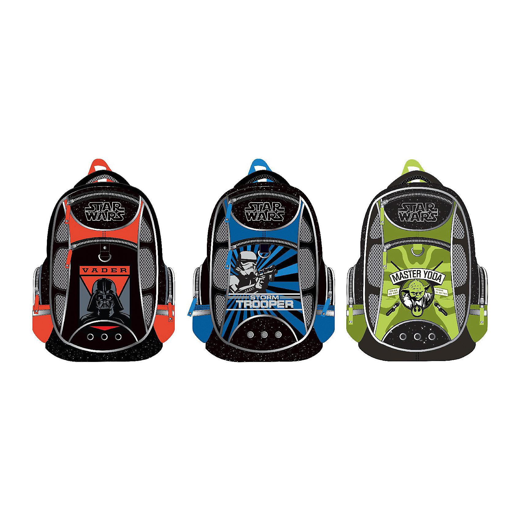 Рюкзак школьный Star Wars ErichKrause, в ассортиментеЗвездные войны<br>Школьный рюкзак, Star Wars – этот легкий вместительный рюкзак будет надежным спутником для вашего школьника.<br>У рюкзака Star Wars эргономичная конструкция спинки из подушечек с вентиляционными каналами, которая не только не дает ребенку сутулиться, но и обеспечивает идеальную вентиляцию для спины. Уплотненные S-образные лямки из вентилируемого сетчатого материала с системой регулирования для изменения положения рюкзака одним движением позволят снизить нагрузку на плечи. Рюкзак имеет 2 отделения, два фронтальных кармана на молниях, дополнительные боковые карманы, закрывающиеся на застежки-молнии. Дно укреплено пластиковыми ножками и внутренней откидывающейся жесткой вставкой. Имеется мягкая ручка и петля для подвешивания. Светоотражающие элементы, расположенные с 3х сторон изделия, обеспечивает большую безопасность в темноте.<br><br>Дополнительная информация:<br><br>- Размер: 44 x 31 x 16 см.<br>- Вес: 450 гр.<br>- Материал: полиэстер<br><br>Школьный рюкзак, Star Wars можно купить в нашем интернет-магазине.<br><br>Ширина мм: 280<br>Глубина мм: 140<br>Высота мм: 380<br>Вес г: 810<br>Возраст от месяцев: 72<br>Возраст до месяцев: 120<br>Пол: Мужской<br>Возраст: Детский<br>SKU: 4744494