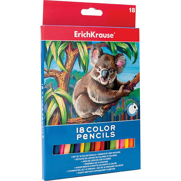 Цветные карандаши, 18 цв., ErichkrauseПисьменные принадлежности<br>Цветные карандаши, 18 цв., Erichkrause (Эрих Краузе) – это необходимый инструмент для детского творчества и школьных занятий.<br>Цветные карандаши от немецкой компании Erich Krause (Эрих Краузе) идеально подходят для рисования, письма и раскрашивания и не требуют сильного нажатия, поэтому ребенку будет легко ими рисовать. Карандаши обладают яркими насыщенными цветами, мягкий грифель обеспечивает равномерное закрашивание. Трёхгранный корпус карандаша позволяет каждому пальчику расположиться на своей грани, что не даёт детской ручке уставать и вырабатывает у малыша привычку правильно держать пишущие принадлежности. Благодаря такой форме, карандаши не скатываются со стола во время рисования. Карандаши безопасны при использовании по назначению, легко затачиваются, изготовлены из высококачественной древесины. Грифель не сломается при заточке и не раскрошится внутри корпуса, если ребёнок нечаянно уронит карандаш на пол.<br><br>Дополнительная информация:<br><br>- Количество: 18 шт.<br>- Диаметр грифеля: 3 мм.<br>- Трехгранная форма<br>- Насыщенные цвета<br>- Материал корпуса: древесина<br>- Длина карандаша: 176 мм.<br>- Упаковка: картонная коробка с европодвесом<br><br>Цветные карандаши, 18 цв., Erichkrause (Эрих Краузе) можно купить в нашем интернет-магазине.<br><br>Ширина мм: 134<br>Глубина мм: 10<br>Высота мм: 207<br>Вес г: 120<br>Возраст от месяцев: 36<br>Возраст до месяцев: 204<br>Пол: Унисекс<br>Возраст: Детский<br>SKU: 4744501