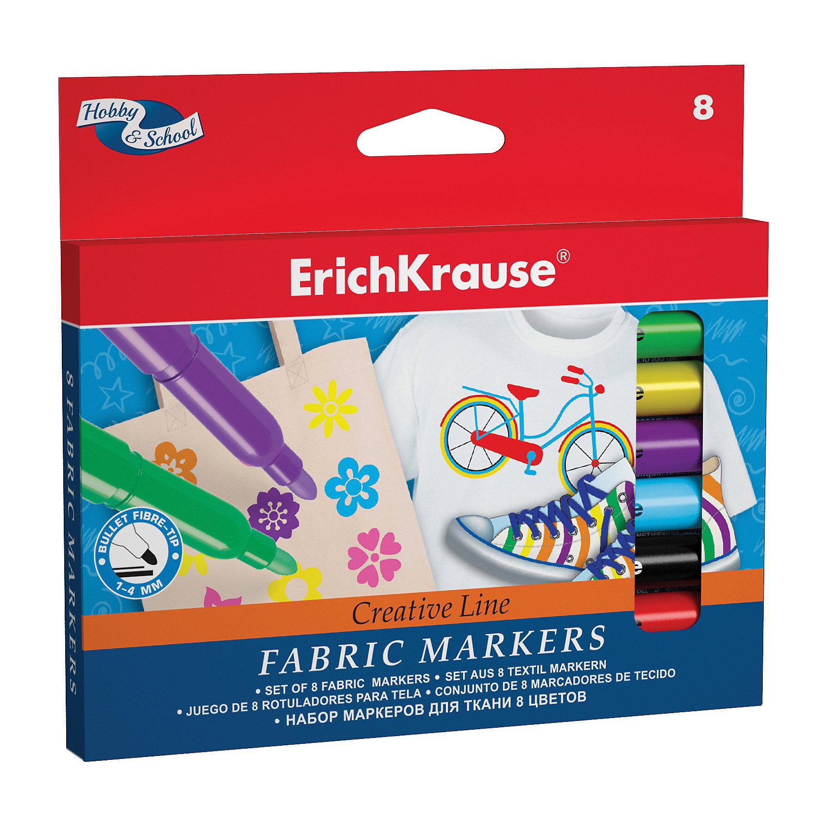 Фломастеры для ткани, 8 цв., Erich KrauseПринадлежности для творчества<br>Фломастеры для ткани, 8 цв., Erich Krause (Эрих Краузе) - это настоящая находка для юного художника.<br>Фломастеры для ткани от немецкой компании Erich Krause (Эрих Краузе) сделают из вашего малыша настоящего дизайнера. Фломастеры способны рисовать на любых текстильных поверхностях, будь то платье для куклы, шорты, сумка и даже тканевые кеды. Товар соответствует европейским стандартам качества.<br><br>Дополнительная информация:<br><br>- Количество: 8 шт.<br>- Упаковка: картонная коробка с европодвесом<br>- Размер упаковки: 1,5 ? 14 ? 12,5 см.<br><br>Фломастеры для ткани, 8 цв., Erich Krause (Эрих Краузе) можно купить в нашем интернет-магазине.<br><br>Ширина мм: 140<br>Глубина мм: 15<br>Высота мм: 125<br>Вес г: 90<br>Возраст от месяцев: 36<br>Возраст до месяцев: 180<br>Пол: Унисекс<br>Возраст: Детский<br>SKU: 4744511