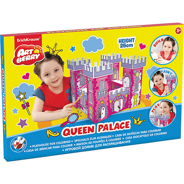Набор для раскрашивания Замок принцессы, ArtberryМодели из бумаги<br>Набор для раскрашивания Замок принцессы, Artberry – это увлекательный набор для детского творчества.<br>Каждой маленькой принцессе нужен свой дом! Соберите и раскрасьте замок принцессы. На домик уже нанесены контуры изображений, но ребенок волен сам выбирать цвета красок и технику рисования. Домик можно раскрасить гуашью или акварелью мелками или пастелью, фломастерами или карандашами, и даже мягким пластилином. Напольный игровой домик станет отличным подарком ребенку: его интересно собирать и раскрашивать, в готовом виде он прекрасно подойдет для игр и приятно дополнит интерьер детской комнаты. Все детали выполнены из прочного гофрокартона, сборка не требует клея и ножниц. Прочная конструкция обеспечивает продолжительный срок службы, а малый вес позволяет легко переносить домик из одного места в другое целиком, не разбирая. Все материалы экологически безопасны, не аллергенны и не токсичны.<br><br>Дополнительная информация:<br><br>- Размер замка: 250x325x325 мм.<br>- Материал: прочный гофрокартон<br><br>Набор для раскрашивания Замок принцессы, Artberry можно купить в нашем интернет-магазине.<br><br>Ширина мм: 250<br>Глубина мм: 325<br>Высота мм: 325<br>Вес г: 540<br>Возраст от месяцев: 36<br>Возраст до месяцев: 72<br>Пол: Женский<br>Возраст: Детский<br>SKU: 4744514