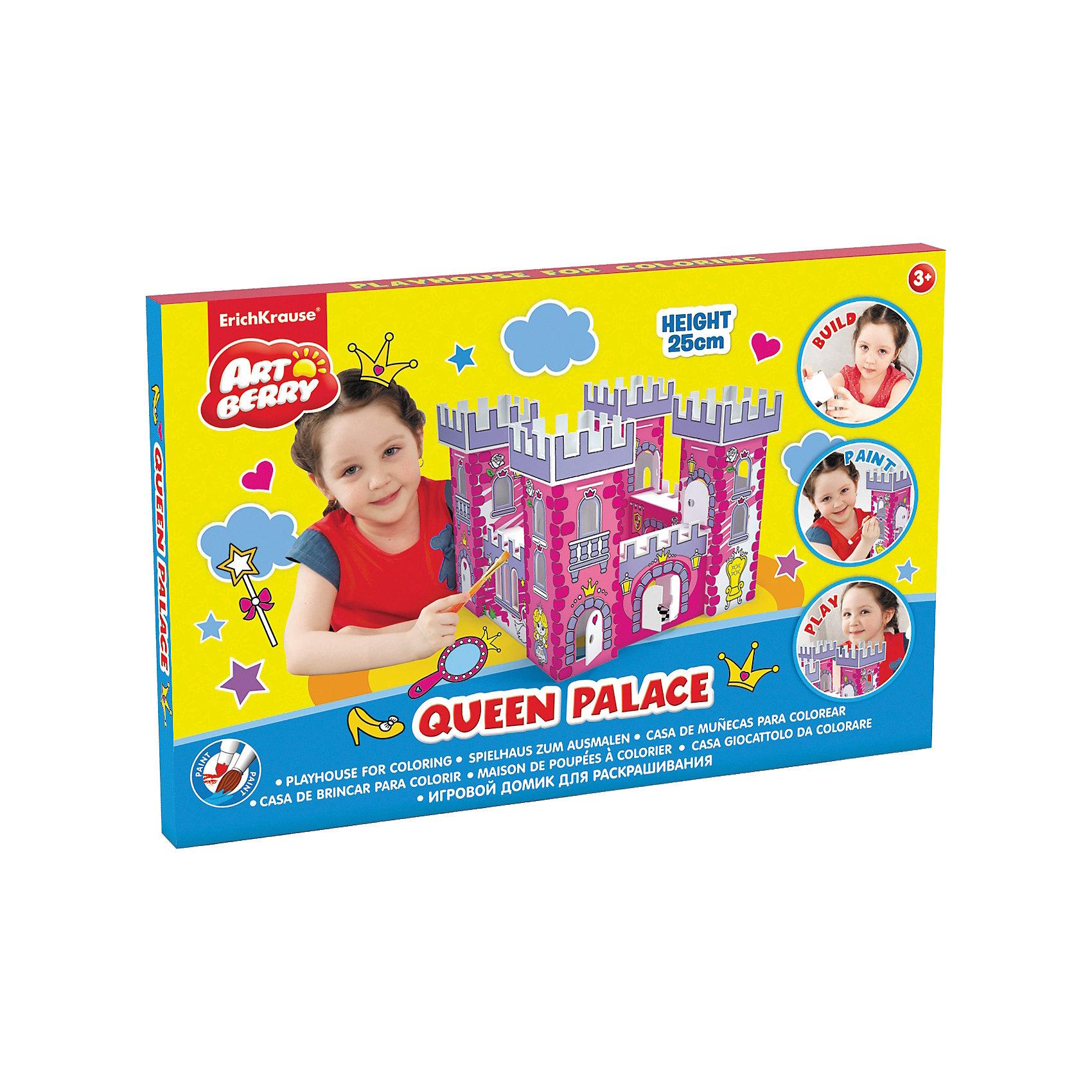 Набор для раскрашивания Замок принцессы, ArtberryИгрушечные домики и замки<br>Набор для раскрашивания Замок принцессы, Artberry – это увлекательный набор для детского творчества.<br>Каждой маленькой принцессе нужен свой дом! Соберите и раскрасьте замок принцессы. На домик уже нанесены контуры изображений, но ребенок волен сам выбирать цвета красок и технику рисования. Домик можно раскрасить гуашью или акварелью мелками или пастелью, фломастерами или карандашами, и даже мягким пластилином. Напольный игровой домик станет отличным подарком ребенку: его интересно собирать и раскрашивать, в готовом виде он прекрасно подойдет для игр и приятно дополнит интерьер детской комнаты. Все детали выполнены из прочного гофрокартона, сборка не требует клея и ножниц. Прочная конструкция обеспечивает продолжительный срок службы, а малый вес позволяет легко переносить домик из одного места в другое целиком, не разбирая. Все материалы экологически безопасны, не аллергенны и не токсичны.<br><br>Дополнительная информация:<br><br>- Размер замка: 250x325x325 мм.<br>- Материал: прочный гофрокартон<br><br>Набор для раскрашивания Замок принцессы, Artberry можно купить в нашем интернет-магазине.<br><br>Ширина мм: 250<br>Глубина мм: 325<br>Высота мм: 325<br>Вес г: 540<br>Возраст от месяцев: 36<br>Возраст до месяцев: 72<br>Пол: Женский<br>Возраст: Детский<br>SKU: 4744514