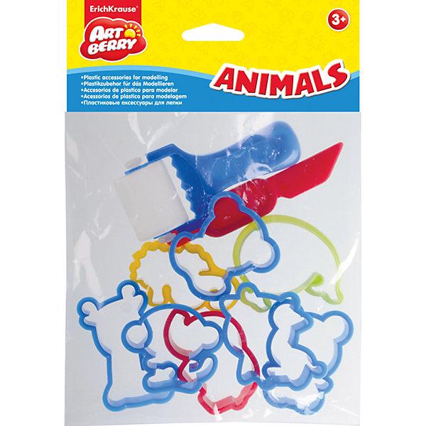 Набор пластиковых аксессуаров для лепки Animals, ArtberryНаборы для лепки<br>Набор пластиковых аксессуаров для лепки Animals, Artberry – это увлекательный набор для детского творчества.<br>Набор фигурных формочек и аксессуаров для лепки является хорошим дополнением к пластилину. Пластиковые формочки очень удобны для работы: имеют безопасные закругленные края и достаточно плотный каркас. Разноцветные формочки и аксессуары разнообразят занятия лепкой, научат создавать фигурные поделки, разовьют мелкую моторику пальцев ребенка.<br><br>Дополнительная информация:<br><br>- В наборе: стек, валик, 8 фигурных формочек животных<br>- Средний размер фигурки: 6 см x 6 см x 1 см.<br>- Материал: пластик<br><br>Набор пластиковых аксессуаров для лепки Animals, Artberry можно купить в нашем интернет-магазине.<br><br>Ширина мм: 165<br>Глубина мм: 40<br>Высота мм: 200<br>Вес г: 50<br>Возраст от месяцев: 36<br>Возраст до месяцев: 72<br>Пол: Унисекс<br>Возраст: Детский<br>SKU: 4744515