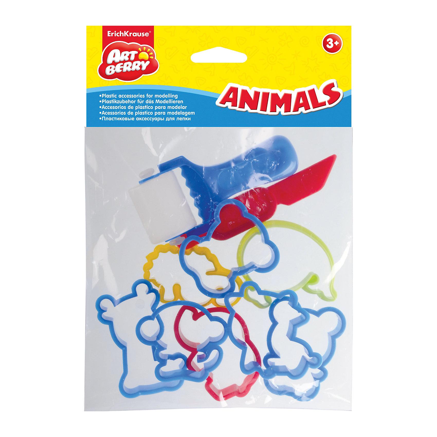Набор пластиковых аксессуаров для лепки Animals, ArtberryЛепка<br>Набор пластиковых аксессуаров для лепки Animals, Artberry – это увлекательный набор для детского творчества.<br>Набор фигурных формочек и аксессуаров для лепки является хорошим дополнением к пластилину. Пластиковые формочки очень удобны для работы: имеют безопасные закругленные края и достаточно плотный каркас. Разноцветные формочки и аксессуары разнообразят занятия лепкой, научат создавать фигурные поделки, разовьют мелкую моторику пальцев ребенка.<br><br>Дополнительная информация:<br><br>- В наборе: стек, валик, 8 фигурных формочек животных<br>- Средний размер фигурки: 6 см x 6 см x 1 см.<br>- Материал: пластик<br><br>Набор пластиковых аксессуаров для лепки Animals, Artberry можно купить в нашем интернет-магазине.<br><br>Ширина мм: 165<br>Глубина мм: 40<br>Высота мм: 200<br>Вес г: 50<br>Возраст от месяцев: 36<br>Возраст до месяцев: 72<br>Пол: Унисекс<br>Возраст: Детский<br>SKU: 4744515