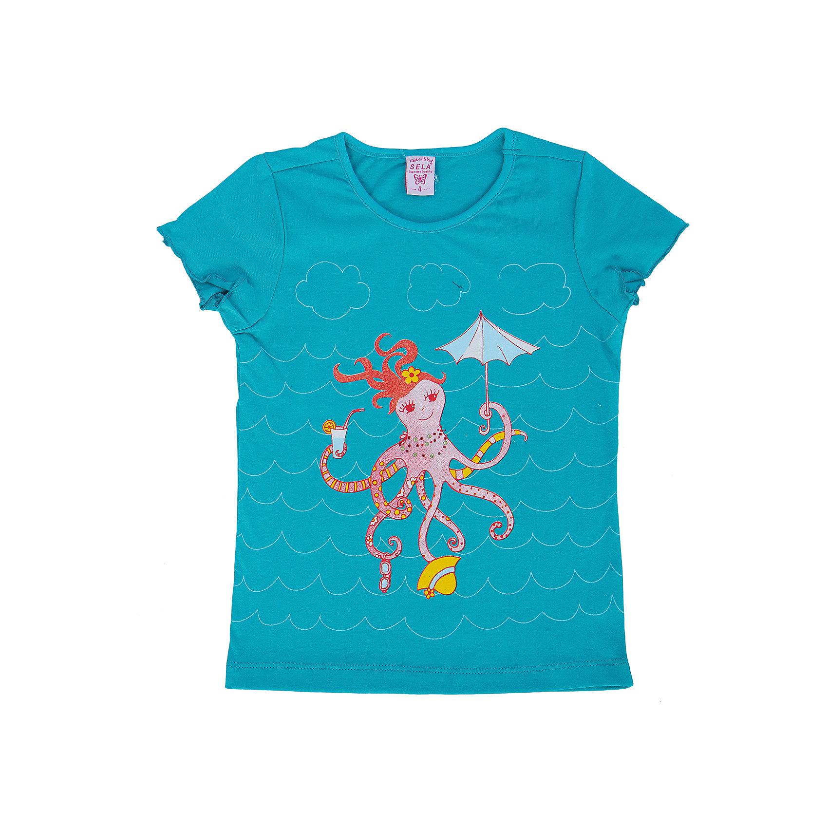 Футболка для девочки SELAФутболки, поло и топы<br>Модная футболка для девочки от популярного бренда SELA. Изделие выполнено из натурального гипоаллергенного трикотажа, очень мягкого, дышащего и приятного к телу, и обладает следующими особенностями:<br>- голубой цвет, милый принт на груди;<br>- эластичная отделка горловины;<br>- комфортный крой, гарантирующий свободу движений;<br>- базовая модель.<br>Великолепный выбор для активного лета!<br><br>Дополнительная информация:<br>- состав: 100% хлопок<br>- цвет: голубой + принт<br><br>Футболку для девочки SELA (СЕЛА) можно купить в нашем магазине<br><br>Ширина мм: 199<br>Глубина мм: 10<br>Высота мм: 161<br>Вес г: 151<br>Цвет: голубой<br>Возраст от месяцев: 24<br>Возраст до месяцев: 36<br>Пол: Женский<br>Возраст: Детский<br>Размер: 98,116,92,104,110<br>SKU: 4745387