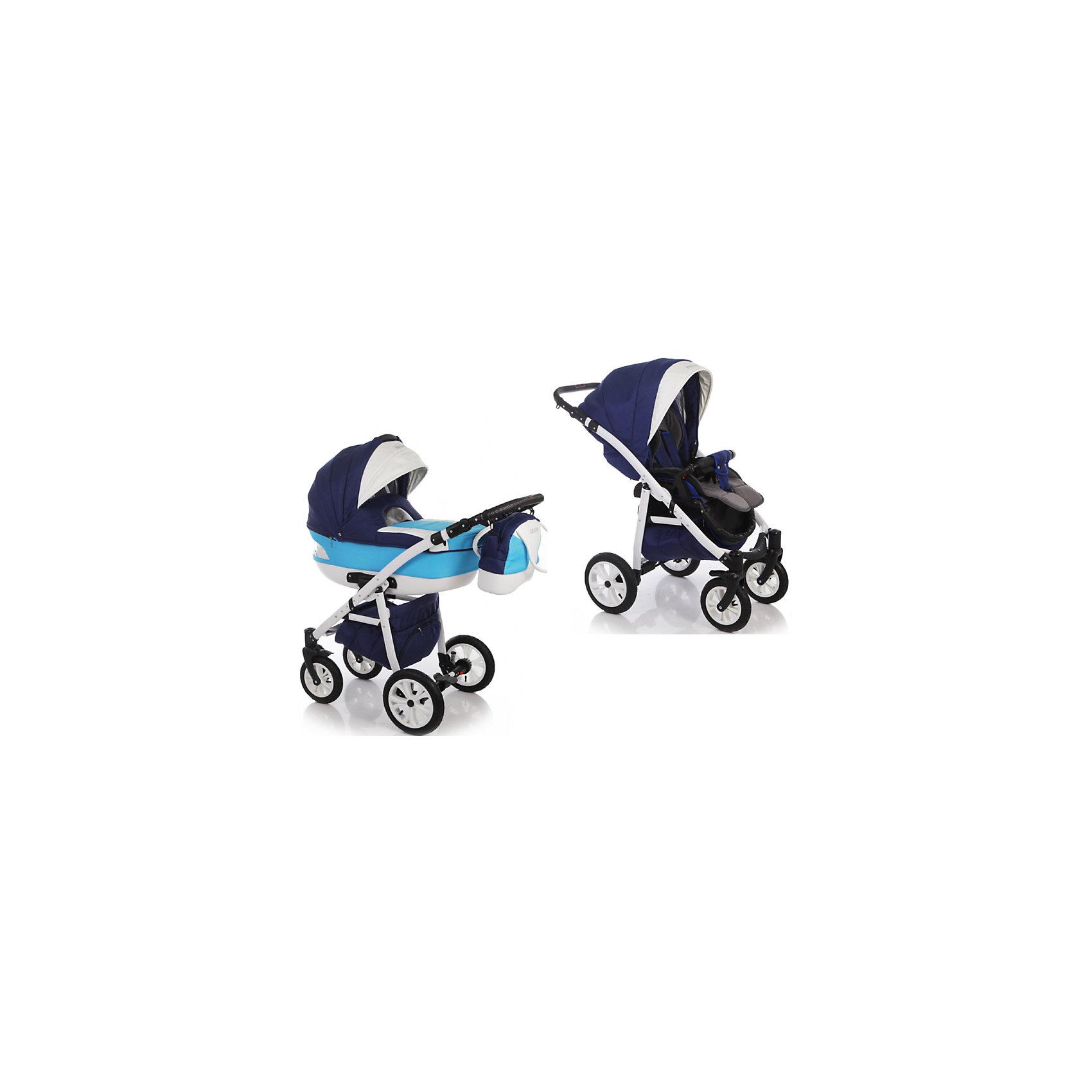 Коляска 2 в 1 AMADIS, Ifratti, синий/белый/голубойIfratti Amadis - новая, манёвренная и лёгкая  в управлении многофункциональная,  модульная коляска с  возможностью установки автомобильного кресла.<br>Современный дизайн выполнен в оригинальном стиле. В люльке и чехле, покрывающем люльку, смодулированы смотровые окна. Для  детей с рождения до трёх лет.<br>Особенности:<br>Переносная люлька для детей с рождения до 6 месяцев:<br>- Просторная пластиковая люлька( 42/85 см.) с регулируемым подголовником;<br>- Люлька устанавливается в 2х направлениях лицом к маме, лицом к дороге;<br>- Простая и удобная система крепления на раму;<br>- Съемная подкладка из 100% хлопка, с возможностью стирки;<br>- Капюшон складной, съемный с вентиляционным окошком;<br>- Опускающийся козырёк для защиты от непогоды;<br>- Бесшумная система складывания капора;<br>- Кожаная ручка, для использования люльки в качестве переноски;<br>- Размер спального места ДхШхВ: 82 см х 39 см х 23см. Прогулочный блок для детей от 6 месяцев  до 3-х лет.<br>- Удобное, широкое посадочное место;<br>- Полная регулировка спинки до положения лёжа; <br>- Регулировка подножки по высоте;<br>- Пятиточечные ремни безопасности с мягкими накладками, регулируемые по высоте;<br>- Съёмный передний поручень с перемычкой между ножек;<br>- Большой капор с солнцезащитным козырьком;<br>- Чехол для ножек;<br>- Размер спального местаДхШ: 92 х 38 см. <br>- Новейшей конструкции алюминиевая рама;<br>- Механизм компактного складывания по типу книжка;<br>-  Установка прогулочного блока возможна в двух направлениях;<br>- Надувные съёмные колеса на подшипниках;<br>-  Передние поворотные на 360° колеса с механизмом блокировки;<br>-  Диаметр колес: задние 29 см, передние 24см<br>-  Усиленная, регулируемая пружинная амортизация;<br>- Регулировка ручки по высоте;<br>- Надежный центральный тормоз;<br><br>Комплектация: <br>- Люлька;<br>- Прогулочный блок с капором;<br>-  Рама;<br>-  Сумка для мамы;<br>-  Москитная сетка и дождевик.<br>Размеры коляски: 