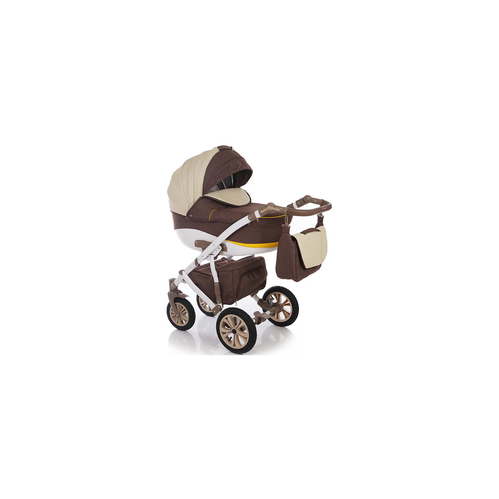 Коляска 2 в 1 FABIO, Ifratti, т.бежевый/жёлтый/экрюIfratti Fabio - манёвренная и лёгкая  в управлении коляска на алюминиевой раме и с возможностью установки автомобильного кресла. Неповторимый дизайн  никого не оставит  равнодушным. Оригинальный вариант сочетания теснённой кожи с тканью лён– обратит на себя внимание даже самого предвзятого покупателя. Для  детей с рождения до трёх лет. Конструкция рамы имеет мягкую подвеску передней и задней оси, удобную, регулируемую по высоте ручку, с обшивкой из эко кожи, а так же – большую, металлическую вместительная корзину-сетку для покупок. Капоры люльки и прогулочного блока, оснащены тихой системой регулировки, имеют складной, солнцезащитный козырёк, отстёгиваемый сегмент обивки, под которым находится большое вентиляционное окно с москитной сеткой, что особенно важно в жаркие летние дни.Оба модуля коляски, устанавливаются на раме поочерёдно, в двух направлениях – лицом, либо спиной по направлению движения. <br><br>Особенности:<br>Переносная люлька для детей с рождения до 6 месяцев:<br>- Просторная пластиковая люлька 42/85 см) с регулируемым подголовником;                   <br>- Люлька устанавливается в 2х направлениях лицом к маме, лицом к дороге;           - Простая и удобная система крепления на раму;<br>- Съемная подкладка из 100% хлопка, с возможностью стирки;<br>- Капюшон складной, съемный с вентиляционным окошком;<br>- Опускающийся козырёк для защиты от непогоды;<br>- Бесшумная система складывания капора;<br>- Кожаная ручка, для использования люльки в качестве переноски;<br>- Размер спального места ДхШхВ: 82 см х 39 см х 23см.Прогулочный блок для детей от 6 месяцев  до 3-х лет;<br>- Удобное, широкое посадочное место;<br>- Полная регулировка спинки до положения лёжа;<br>-  Регулировка подножки по высоте;<br>- Пятиточечные ремни безопасности;<br>- Съёмный передний поручень с разделительной перемычкой между ножек;<br>- Регулировка ручки по высоте;<br>- Надежный центральный тормоз.<br><br>Комплектация: <br>- Люлька;<br>-