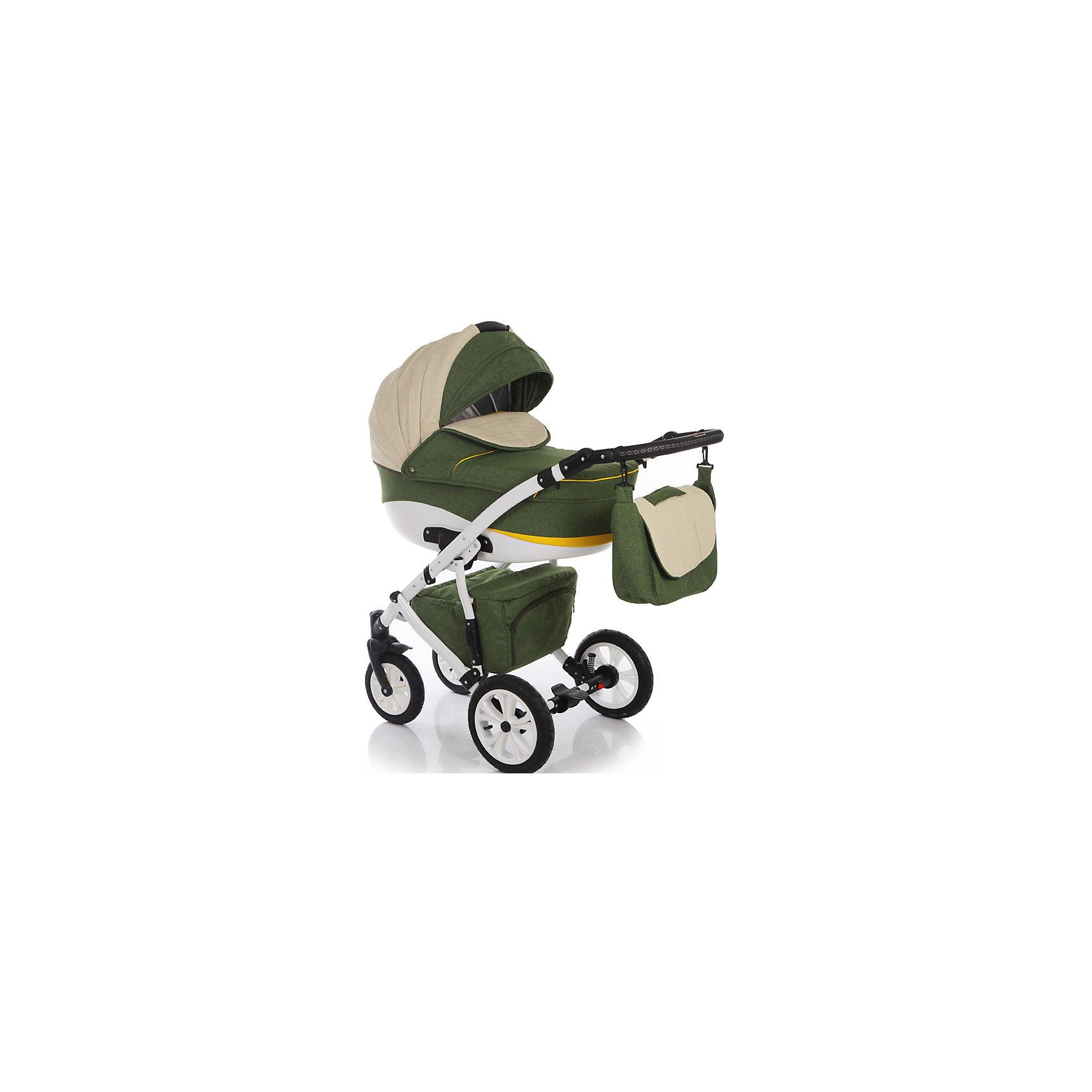 Коляска 2 в 1 FABIO, Ifratti, т.зелёный/жёлтыйIfratti Fabio - манёвренная и лёгкая  в управлении коляска на алюминиевой раме и с возможностью установки автомобильного кресла. Неповторимый дизайн  никого не оставит  равнодушным. Оригинальный вариант сочетания теснённой кожи с тканью лён– обратит на себя внимание даже самого предвзятого покупателя. Для  детей с рождения до трёх лет. Конструкция рамы имеет мягкую подвеску передней и задней оси, удобную, регулируемую по высоте ручку, с обшивкой из эко кожи, а так же – большую, металлическую вместительная корзину-сетку для покупок. Капоры люльки и прогулочного блока, оснащены тихой системой регулировки, имеют складной, солнцезащитный козырёк, отстёгиваемый сегмент обивки, под которым находится большое вентиляционное окно с москитной сеткой, что особенно важно в жаркие летние дни.Оба модуля коляски, устанавливаются на раме поочерёдно, в двух направлениях – лицом, либо спиной по направлению движения. <br><br>Особенности:<br>Переносная люлька для детей с рождения до 6 месяцев:<br>- Просторная пластиковая люлька 42/85 см) с регулируемым подголовником;                   <br>- Люлька устанавливается в 2х направлениях лицом к маме, лицом к дороге;           - Простая и удобная система крепления на раму;<br>- Съемная подкладка из 100% хлопка, с возможностью стирки;<br>- Капюшон складной, съемный с вентиляционным окошком;<br>- Опускающийся козырёк для защиты от непогоды;<br>- Бесшумная система складывания капора;<br>- Кожаная ручка, для использования люльки в качестве переноски;<br>- Размер спального места ДхШхВ: 82 см х 39 см х 23см.Прогулочный блок для детей от 6 месяцев  до 3-х лет;<br>- Удобное, широкое посадочное место;<br>- Полная регулировка спинки до положения лёжа;<br>-  Регулировка подножки по высоте;<br>- Пятиточечные ремни безопасности;<br>- Съёмный передний поручень с разделительной перемычкой между ножек;<br>- Регулировка ручки по высоте;<br>- Надежный центральный тормоз.<br><br>Комплектация: <br>- Люлька;<br>- Прог