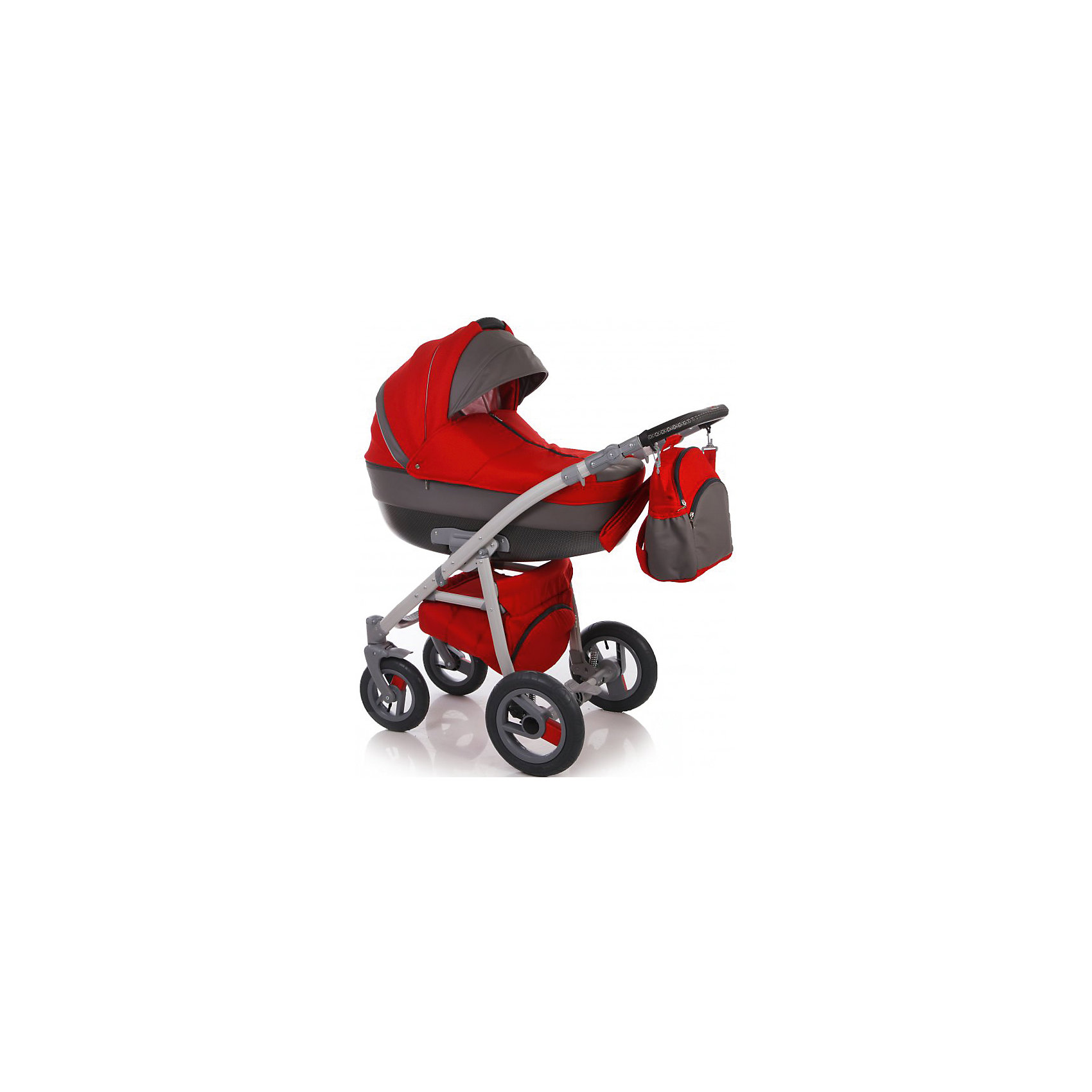 Коляска 2 в 1 SPORT, Ifratti, т.серый/красныйIfratti Sport - это новая, исключительно практичная, манёвренная и лёгкая  в управлении коляска на алюминиевой раме и с возможностью установки автомобильного кресла. Оригинальный вариант сочетания теснённой кожи с тканью лён– обратит на себя внимание даже самого предвзятого покупателя. Конструкция рамы имеет мягкую подвеску передней и задней оси, удобную, регулируемую по высоте ручку, с обшивкой из эко кожи, а так же – большую, металлическую вместительная корзину-сетку для покупок. Капоры люльки и прогулочного блока, оснащены тихой системой регулировки, имеют складной, солнцезащитный козырёк, отстёгиваемый сегмент обивки, под которым находится большое вентиляционное окно с москитной сеткой, что особенно важно в жаркие летние дни. Оба модуля коляски, устанавливаются на раме поочерёдно, в двух направлениях – лицом, либо спиной по направлению движения. <br><br>Особенности:<br>- Просторная пластиковая люлька 42/85 см) с регулируемым подголовником;                   <br>- Люлька устанавливается в 2х направлениях лицом к маме, лицом к дороге;           - Простая и удобная система крепления на раму;<br>- Съемная подкладка из 100% хлопка, с возможностью стирки;<br>- Капюшон складной, съемный с вентиляционным окошком;<br>- Опускающийся козырёк для защиты от непогоды;<br>- Бесшумная система складывания капора;<br>- Кожаная ручка, для использования люльки в качестве переноски;<br>- Размер спального места ДхШхВ: 82 см х 39 см х 23см.Прогулочный блок для детей от 6 месяцев  до 3-х лет;<br>- Удобное, широкое посадочное место;<br>- Полная регулировка спинки до положения лёжа;<br>-  Регулировка подножки по высоте;<br>- Пятиточечные ремни безопасности;<br>- Съёмный передний поручень с разделительной перемычкой между ножек;<br>- Регулировка ручки по высоте;<br>- Надежный центральный тормоз.<br>- Установка прогулочного блока возможна в двух направлениях;<br>- Надувные съёмные колеса на подшипниках; <br>- Передние поворотные на 360° колеса с