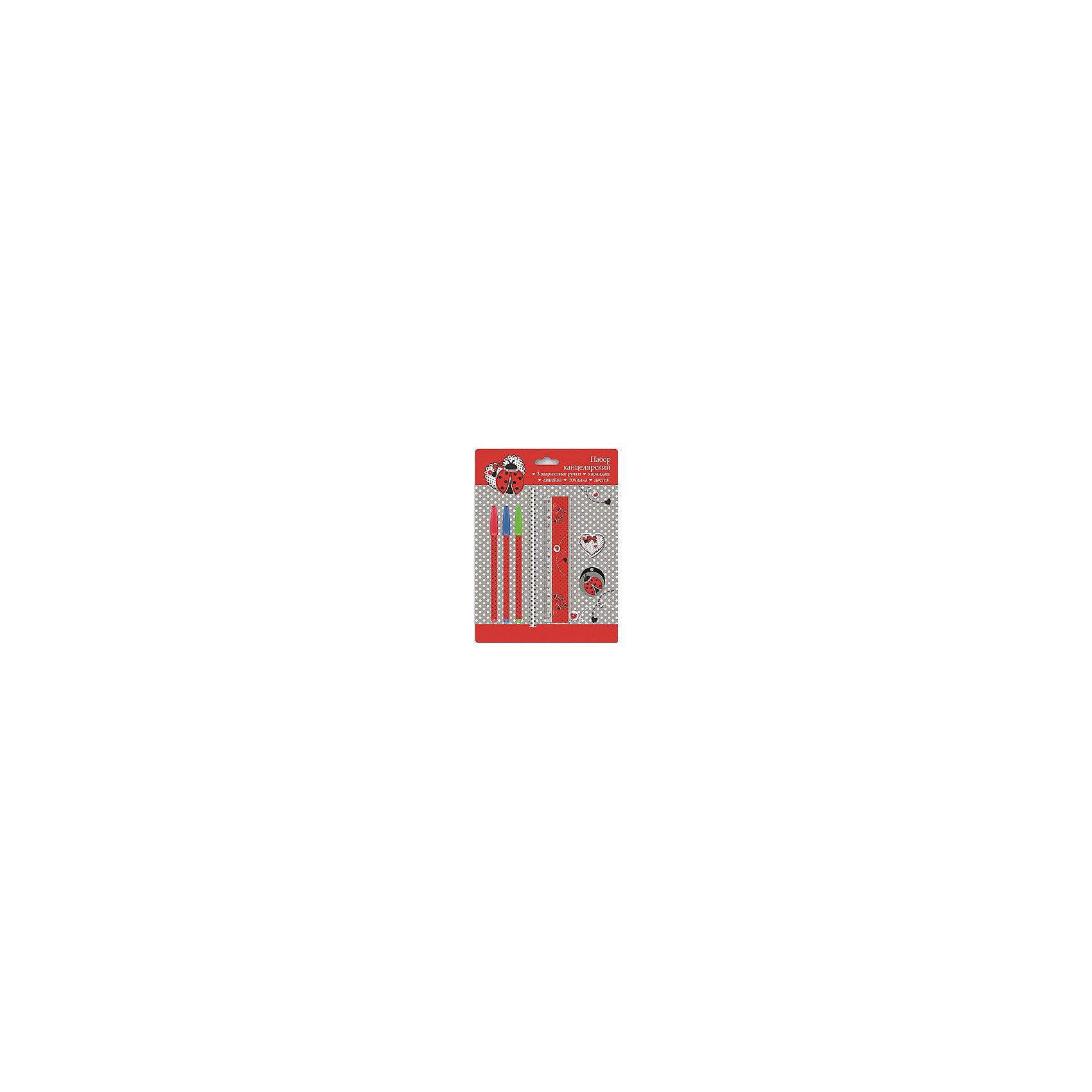 Канцелярский набор Божья коровка, 7 предметовШкольные аксессуары<br>Яркие канцелярские принадлежности сделают школьные занятия веселее и поднимут ребенку настроение. В состав канцелярского набора Божья коровка входят три разноцветные шариковые ручки (красная, зеленая, синяя), 1 ластик диаметром 35мм, 1 точилка для карандашей диаметром 35мм, 1 пластиковая линейка длиной 15 см, 1 круглый заточенный чернографитный карандаш в древесной оболочке твердости HB.<br>Все предметы выполнены в одном стиле, из качественных и безопасных для ребенка материалов. Упаковка - блистер.<br><br>Дополнительная информация:<br><br>цвет: разноцветный;<br>материал: пластик, дерево.<br><br>Комплектация: <br>3 ручки,<br>1 ластик, <br>1 точилка, <br>1 линейка,<br>1 карандаш.<br><br>Канцелярский набор Божья коровка, 7 предметов можно купить в нашем магазине.<br><br>Ширина мм: 245<br>Глубина мм: 180<br>Высота мм: 20<br>Вес г: 75<br>Возраст от месяцев: 72<br>Возраст до месяцев: 144<br>Пол: Женский<br>Возраст: Детский<br>SKU: 4746259