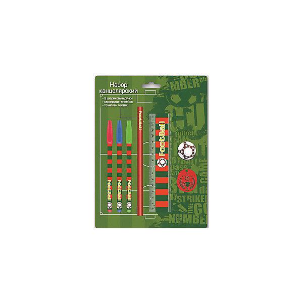 Канцелярский набор Футбол Феникс+Школьные аксессуары<br>Канцелярский набор в блистере  ФУТБОЛ (3 ручки шарик. (красная, зеленая, синяя), 1 ластик диаметром 35мм, 1 точилка для карандашей диаметром 35мм, 1 пластиковая линейка длиной 150 мм, 1 круглый заточенный чернографитный карандаш в древесной оболочке твердости HB)<br>Ширина мм: 245; Глубина мм: 180; Высота мм: 20; Вес г: 75; Возраст от месяцев: 72; Возраст до месяцев: 144; Пол: Унисекс; Возраст: Детский; SKU: 4746260;