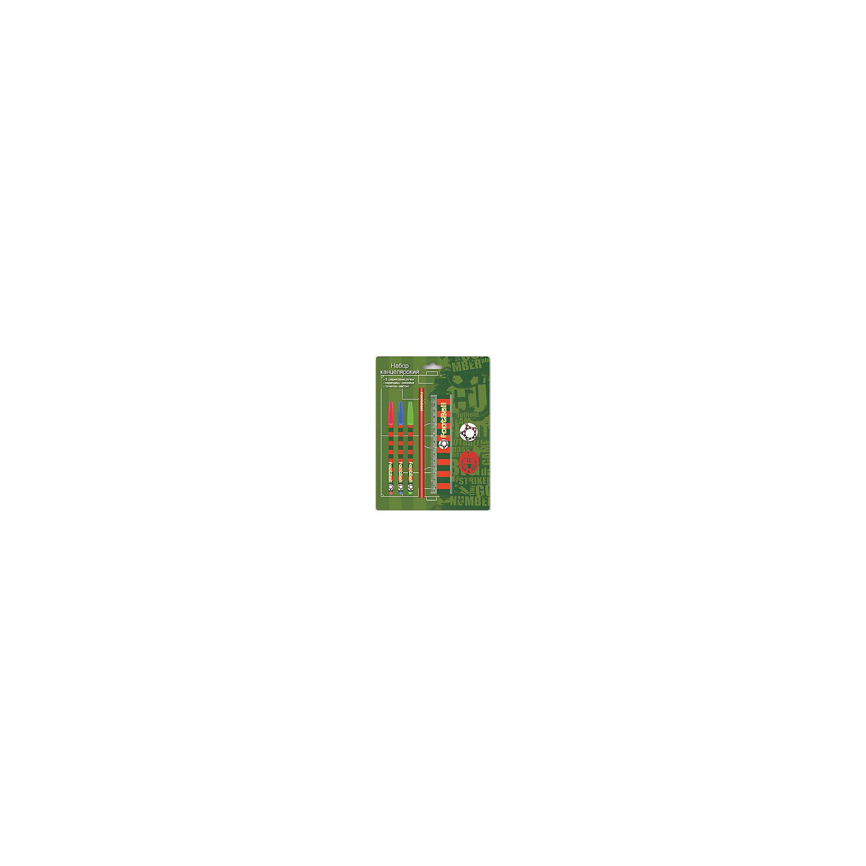 Канцелярский набор Футбол, 7 предметовЯркие канцелярские принадлежности сделают школьные занятия веселее и поднимут ребенку настроение. В состав канцелярского набора Футбол входят три разноцветные шариковые ручки (красная, зеленая, синяя), 1 ластик диаметром 35мм, 1 точилка для карандашей диаметром 35мм, 1 пластиковая линейка длиной 15 см, 1 круглый заточенный чернографитный карандаш в древесной оболочке твердости HB.<br>Все предметы выполнены в одном стиле, который оценят мальчишки. Сделаны из качественных и безопасных для ребенка материалов. Упаковка - блистер.<br><br>Дополнительная информация:<br><br>цвет: разноцветный;<br>материал: пластик, дерево.<br><br>Комплектация: <br>3 ручки,<br>1 ластик, <br>1 точилка, <br>1 линейка,<br>1 карандаш.<br><br>Канцелярский набор Футбол, 7 предметов можно купить в нашем магазине.<br><br>Ширина мм: 245<br>Глубина мм: 180<br>Высота мм: 20<br>Вес г: 75<br>Возраст от месяцев: 72<br>Возраст до месяцев: 144<br>Пол: Мужской<br>Возраст: Детский<br>SKU: 4746260