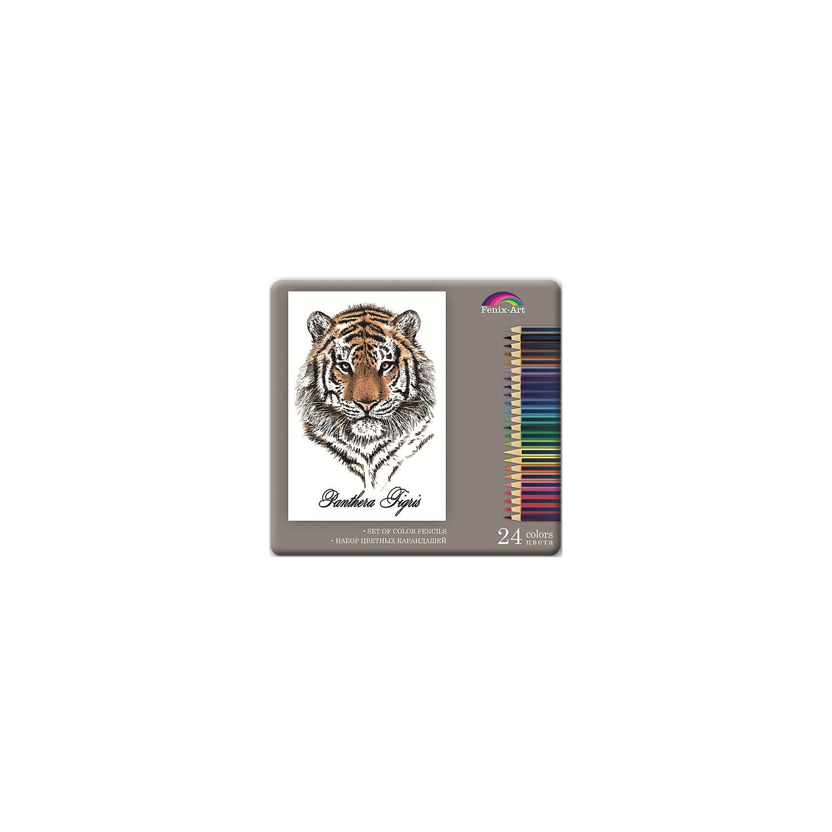 Феникс+ Набор цветных карандашей Тигр, 24 шт. набор цветных карандашей maped color peps 12 шт 683212 в тубусе подставке