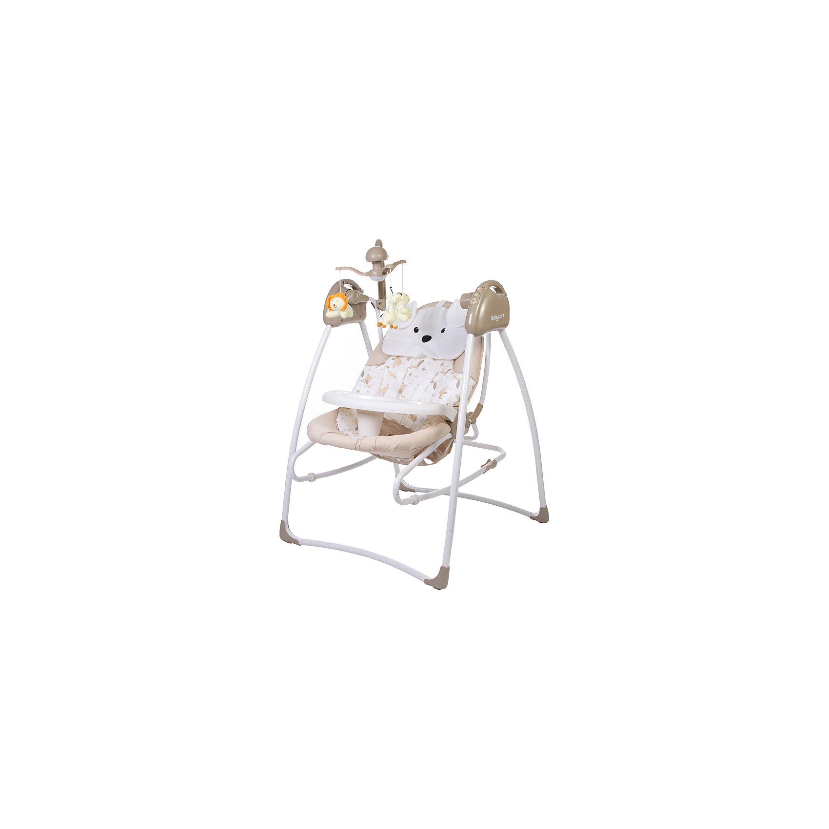 Электрокачели Butterfly 2 в 1 с адаптером, Baby Care, латтеКачели электронные<br>Характеристики электрокачелей Butterfly Baby Care:<br><br>• регулируется угол наклона спинки: 3 положения;<br>• предусмотрено 5 скоростей качания;<br>• музыкальный блок: 12 мелодий;<br>• регулятор громкости;<br>• таймер;<br>• наличие 5-ти точечных ремней безопасности;<br>• съемная дуга с подвесными игрушками;<br>• чехол электрокачелей можно снять и постирать при температуре 30 градусов;<br>• материал: алюминий, пластик, полиэстер.<br><br>Размер в разложенном виде: 78х69х101 см<br>Размер в сложенном виде: 69х69х106 см<br>Расстояние от пола до сидения: 38 см<br>Размер сидения: 80х45 см<br>Вес: 8,2 кг<br>Допустимый вес ребенка: до 15 кг<br>Размер упаковки: 50,5х29х72,5 см<br>Вес упаковки: 8,7 кг<br><br>Электрокачели 2 в 1 Baby Care Butterfly используются как качели с вибро-музыкальным блоком для сна и отдыха крохи, а также, в качестве кресла-качалки, которое устанавливается ровную поверхность. Для безопасности ребенка предусмотрены ремни безопасности, страховочный обод и разделитель для ножек. Плоская подушечка выполнена в форме головы медвежонка, снимается. <br><br>Комплектация:<br><br>• электрокачели Butterfly;<br>• музыкальный блок;<br>• дуга с подвесными игрушками;<br>• сетевой адаптер;<br>• инструкция.<br><br>Электрокачели Butterfly 2 в 1 с адаптером, Baby Care, латте можно купить в нашем интернет-магазине.<br><br>Ширина мм: 730<br>Глубина мм: 510<br>Высота мм: 290<br>Вес г: 8700<br>Возраст от месяцев: 2<br>Возраст до месяцев: 6<br>Пол: Унисекс<br>Возраст: Детский<br>SKU: 4746884