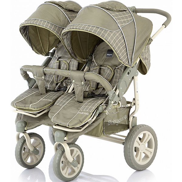 Прогулочная коляска для двойни Baby Care Cruze DUO, оliva сherkerПрогулочные коляски<br>Характеристики коляски для двойни Baby Care Cruze DUO:<br><br>• угол наклона спинки регулируется до горизонтального, 180 градусов, плавная регулировка в 5-ти положениях;<br>• регулируемые капюшоны оснащены солнцезащитными козырьками, опускаются почти до бампера;<br>• на капюшонах имеются вместительные карманы;<br>• подножки регулируются независимо друг от друга, как спинки и капоры, 3 положения;<br>• наличие 3-х точечных ремней безопасности с мягкими накладками;<br>• каркасный съемный бампер с мягким чехлом один для обоих прогулочных блоков;<br>• тканевые разделители для ножек, крепятся кнопками к бамперу;<br>• материал прогулочных блоков: полиэстер. <br><br>Обратите внимание: на капюшонах в открытом положении нет фиксатора. <br><br>Характеристики шасси коляски Baby Care Cruze DUO:<br><br>• тип складывания: книжка;<br>• передние поворотные колеса с блокировкой;<br>• задний стояночный тормоз;<br>• вместительные корзины для покупок;<br>• материал рамы: алюминий;<br>• материал колес: пластик.<br><br>Прогулочная коляска для двойни используется для детей в возрасте от 6 месяцев до 3-х лет, вес которых находится в пределах 15 кг каждого ребенка. Регулируемые спинки и подножки позволяют подобрать для малышей удобное положение, регулируются независимо друг от друга. Компактно складывается книжкой. <br><br>Размеры коляски:<br><br>• размер в разложенном виде: 78х88х105;<br>• вес коляски: 17 кг;<br>• ширина каждого сиденья: 32 см, глубина: 30 см;<br>• длина спального места в каждом из прогулочных блоков: 78 см;<br>• ширина колесной базы: задняя ось 80 см, передняя ось 40 см;<br>• диаметр переднего колеса: 22 см;<br>• диаметр заднего колеса: 29 см;<br>• вес упаковки: 20,5 кг.<br><br>Комплектация: <br><br>• 2 прогулочных блока с капюшонами и бампером;<br>• шасси с колесами и корзинами для покупок;<br>• общая накидка на ножки;<br>• общий дождевик;<br>• инструкция. <br><br>Прогулочную коляску д