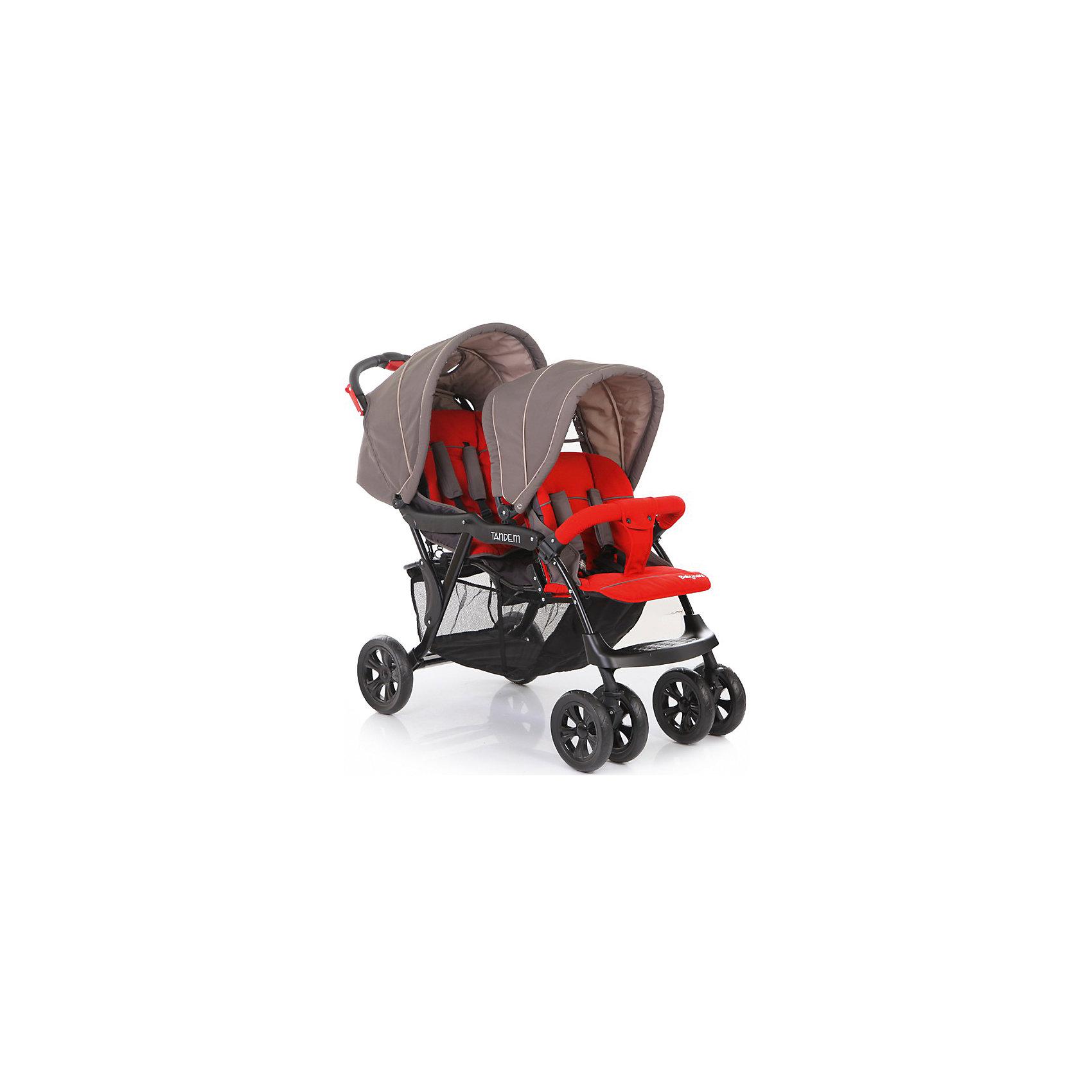 Прогулочная коляска для двойни Baby Care Tandem, серый/красныйКоляски для двойни<br>Характеристики коляски для двойни Baby Care Tandem:<br><br>• расположение прогулочных блоков: паровозиком;<br>• угол наклона спинки регулируется: на переднем блоке в 2-х положениях, на заднем блоке в нескольких положениях, с помощью ремня;<br>• регулируемые капюшоны;<br>• на капюшоне второго блока имеется кармашек и смотровое окошко;<br>• подножка регулируется;<br>• дополнительная пластиковая подножка;<br>• наличие 5-ти точечных ремней безопасности с мягкими накладками;<br>• съемный бампер, один, на переднем прогулочном блоке;<br>• тканевый разделитель для ножек, крепится кнопками к переднему бамперу;<br>• материал прогулочных блоков: полиэстер. <br><br>Характеристики шасси коляски Baby Care Tandem:<br><br>• тип складывания: книжка;<br>• передние колеса двойные, поворотные с блокировкой;<br>• задние колеса одинарные;<br>• задний стояночный тормоз;<br>• вместительная корзина для покупок;<br>• материал рамы: алюминий;<br>• материал колес: пластик.<br><br>Прогулочная коляска для двойни представлена паровозиком, используется для детей в возрасте от 6 месяцев до 3-х лет, вес которых находится в пределах 15 кг каждого ребенка. Регулируемые спинки и капюшоны позволяют подобрать для малышей удобное положение, регулируются независимо друг от друга.  <br><br>Размеры коляски для двойни:<br><br>• размер в разложенном виде: 120х57х112 см;<br>• размер в сложенном виде: 99х57х37 см;<br>• вес коляски: 13,5 кг;<br>• ширина каждого сиденья: 37 см;<br>• ширина колесной базы: 57 см;<br>• размер корзины для покупок: 70х31х25 см;<br>• диаметр передних колес: 20,3 см;<br>• диаметр задних колес: 25,4 см;<br>• размер упаковки: 47х32х94 см;<br>• вес упаковки: 15,5 кг.<br><br>Комплектация: <br><br>• 2 прогулочных блока с капюшонами и бампером;<br>• шасси с колесами;<br>• корзина для покупок;<br>• 2 накидки на ножки;<br>• инструкция. <br><br>Прогулочную коляску для двойни Tandem, Baby Care, красную можно купить