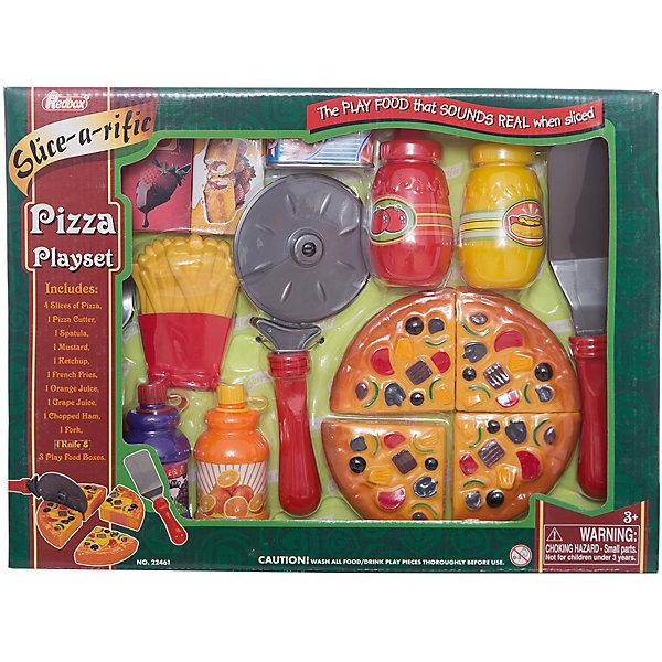 Набор Пиццерия, Red BoxИгрушечные продукты питания<br>Набор Пиццерия, Red Box (Ред Бокс) – это прекрасный игровой набор, который понравится вашей маленькой хозяйке.<br>С набором Пиццерия ваша малышка легко сможет сама организовать угощение для своих кукол и плюшевых игрушек. Пицца режется на четыре куска, которые между собой соединены липучкой. Специальной лопаточкой угощение можно разложить по тарелочкам. Все элементы набора изготовлены из качественного пластика. Играя с ним, девочка будет готовиться к взрослой жизни и станет более самостоятельной, уверенной и активной.<br><br>Дополнительная информация:<br><br>- В наборе: муляж пиццы (4 кусочка), нож, вилка, лопаточка, нож для пиццы, муляж картофеля фри, 4 баночки с «соусами», 4 картонных коробки<br>- Материал: пластик<br>- Размер упаковки: 36х5х27 см.<br><br>Набор Пиццерия, Red Box (Ред Бокс) можно купить в нашем интернет-магазине.<br>Ширина мм: 350; Глубина мм: 55; Высота мм: 250; Вес г: 560; Возраст от месяцев: 36; Возраст до месяцев: 96; Пол: Унисекс; Возраст: Детский; SKU: 4747482;