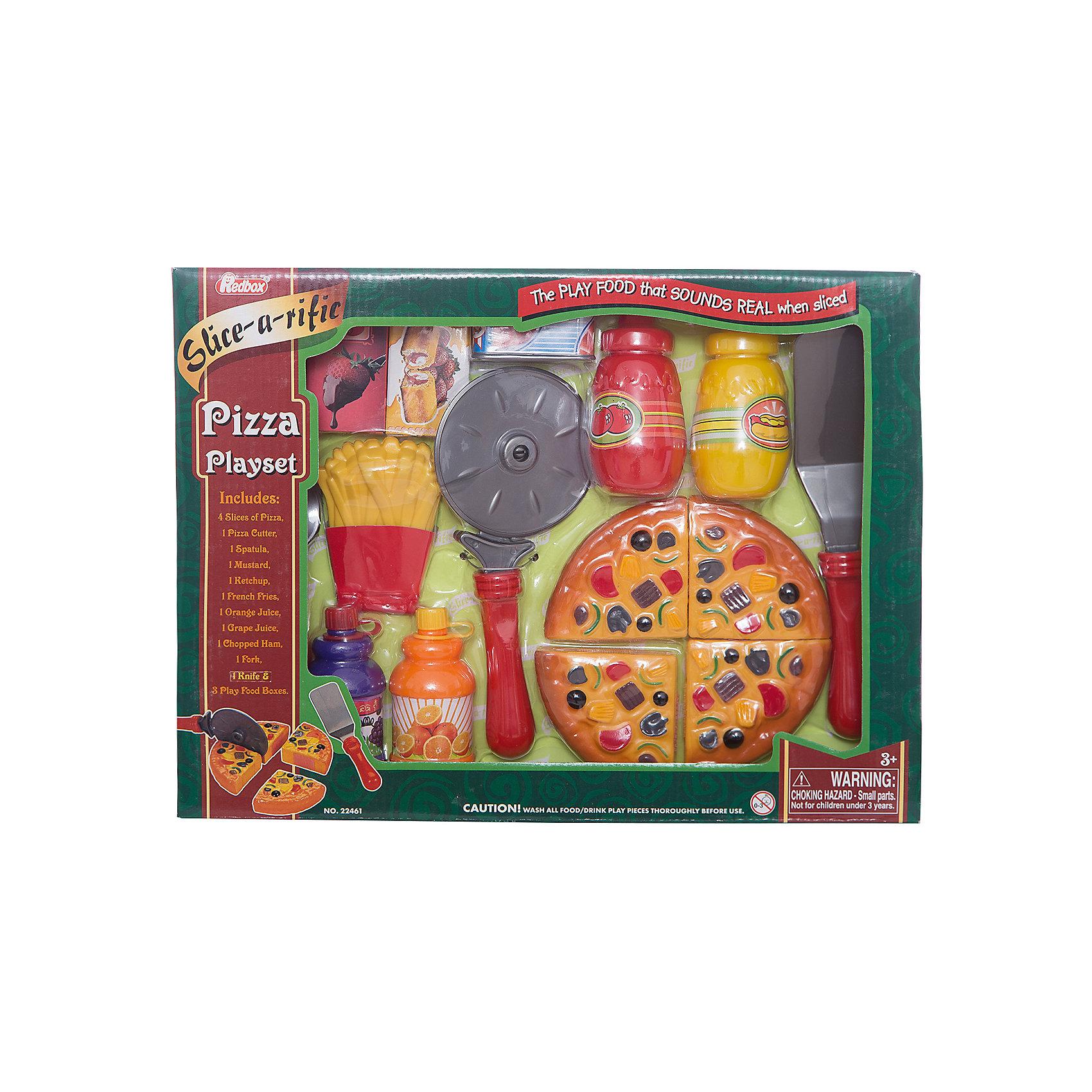 Набор Пиццерия, Red BoxНабор Пиццерия, Red Box (Ред Бокс) – это прекрасный игровой набор, который понравится вашей маленькой хозяйке.<br>С набором Пиццерия ваша малышка легко сможет сама организовать угощение для своих кукол и плюшевых игрушек. Пицца режется на четыре куска, которые между собой соединены липучкой. Специальной лопаточкой угощение можно разложить по тарелочкам. Все элементы набора изготовлены из качественного пластика. Играя с ним, девочка будет готовиться к взрослой жизни и станет более самостоятельной, уверенной и активной.<br><br>Дополнительная информация:<br><br>- В наборе: муляж пиццы (4 кусочка), нож, вилка, лопаточка, нож для пиццы, муляж картофеля фри, 4 баночки с «соусами», 4 картонных коробки<br>- Материал: пластик<br>- Размер упаковки: 36х5х27 см.<br><br>Набор Пиццерия, Red Box (Ред Бокс) можно купить в нашем интернет-магазине.<br><br>Ширина мм: 350<br>Глубина мм: 55<br>Высота мм: 250<br>Вес г: 560<br>Возраст от месяцев: 36<br>Возраст до месяцев: 96<br>Пол: Унисекс<br>Возраст: Детский<br>SKU: 4747482