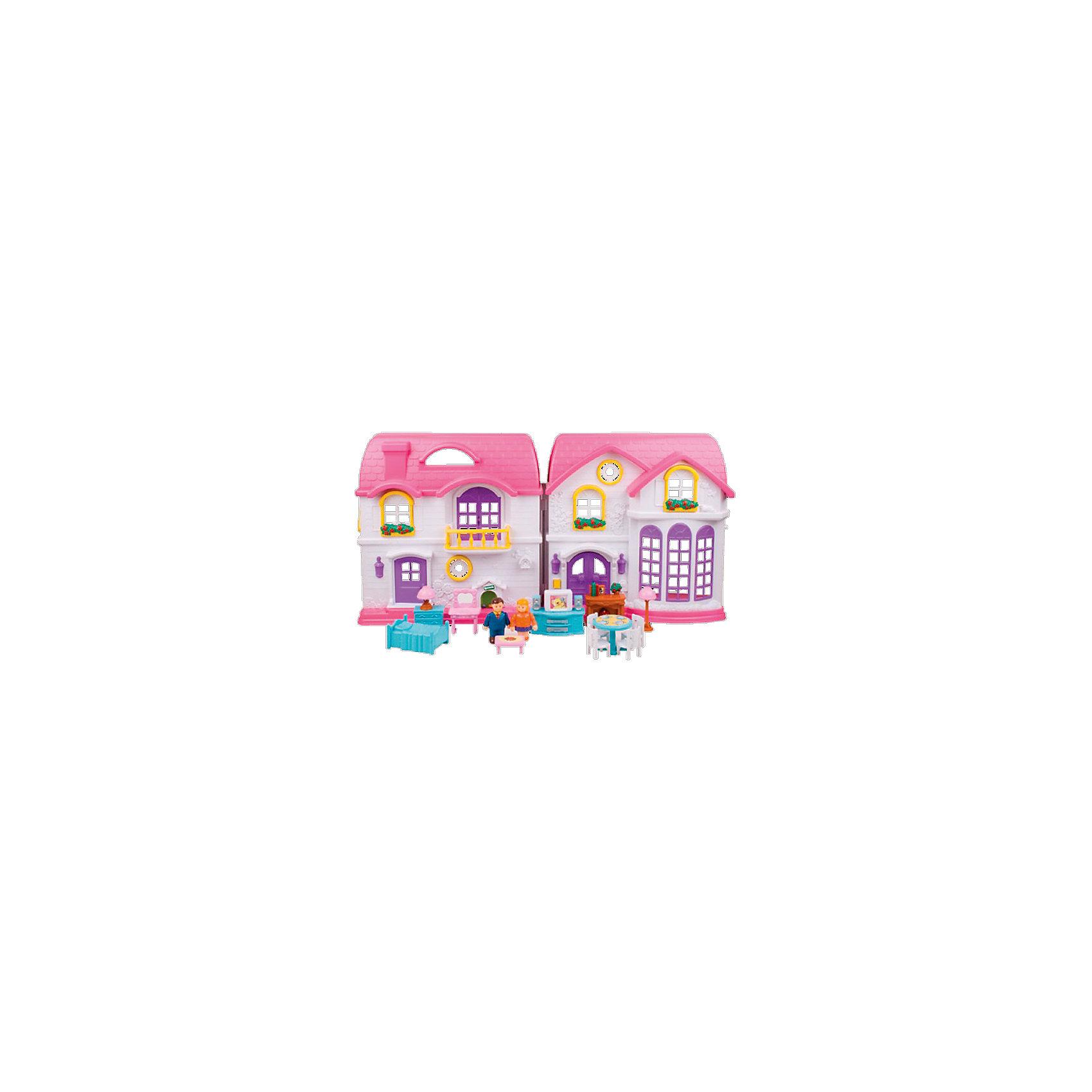 Дом для куклы, Red BoxДомики и мебель<br>Дом для куклы, Red Box (Ред Бокс) – яркий привлекательный коттедж со звуковыми и световыми эффектами и множеством аксессуаров для игры.<br>Игровой набор «Дом для куклы» от Red Box (Ред Бокс) – это большой двухэтажный особняк с мансаодой для дружной семьи! В нем живет супружеская пара – две фигурки, которые находятся в комплекте. Дом раскрывается подобно книге, что позволяет в разложенном виде расположить фигурки и расставить мебель. Обустроить дом можно очень уютно, ведь в набор входит множество деталей интерьера. Для спальни - кровать и туалетный столик с зеркалом. Для гостиной – стулья и тумба с телевизором. Ваша малышка будет очень увлечена различными возможными комбинациями. Ведь мебель можно переставлять по своему вкусу и усмотрению. Дом богат не только своим наполнением, но и сочными цветами, подсветкой и звуковым эффектом. При нажатии на звонок у входа, раздается соответствующий звук, и загораются фонари. С набором Дом для куклы можно инсценировать жизнь целой игрушечной семьи. Сюжетно-ролевая игра помогает развить речь, моторику и координацию движений, логику, внимание и воображение, а так же способствует социальной адаптации ребенка.<br><br>Дополнительная информация:<br><br>- В наборе: фигурки мамы и папы, телевизор с тумбой, стол, 4 стула, кровать двухспальная, туалетный столик с зеркалом, комод, камин, журнальный столик, бра<br>- Размер дома: 72х11х36 см.<br>- Батарейки: 2 шт. типа АА (в комплект входят)<br>- Материал: пластик<br>- Упаковка: картонная коробка<br><br>Дом для куклы, Red Box (Ред Бокс) можно купить в нашем интернет-магазине.<br><br>Ширина мм: 700<br>Глубина мм: 110<br>Высота мм: 500<br>Вес г: 3200<br>Возраст от месяцев: 36<br>Возраст до месяцев: 96<br>Пол: Женский<br>Возраст: Детский<br>SKU: 4747483