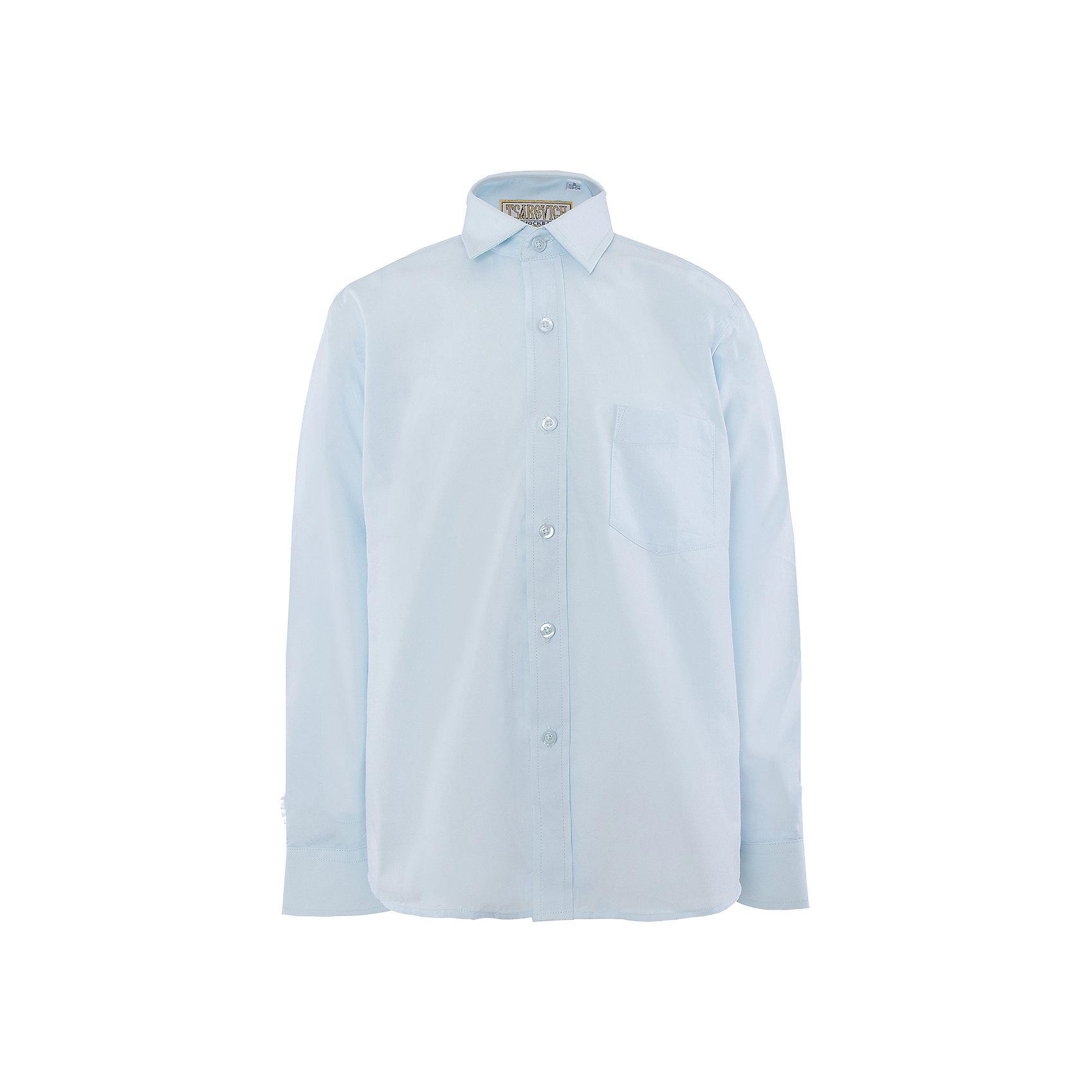 Рубашка для мальчика TsarevichБлузки и рубашки<br>Классическая рубашка - неотьемлемая вещь в гардеробе. Модель на пуговицах, с отложным воротником. Свободный покрой не стеснит движений и позволит чувствовать себя комфортно каждый день.  Состав 80 % хл. 20% П/Э<br><br>Ширина мм: 174<br>Глубина мм: 10<br>Высота мм: 169<br>Вес г: 157<br>Цвет: голубой<br>Возраст от месяцев: 132<br>Возраст до месяцев: 144<br>Пол: Мужской<br>Возраст: Детский<br>Размер: 146/152,164/170,122/128,128/134,134/140,140/146,146/152,152/158,152/158,158/164<br>SKU: 4749326