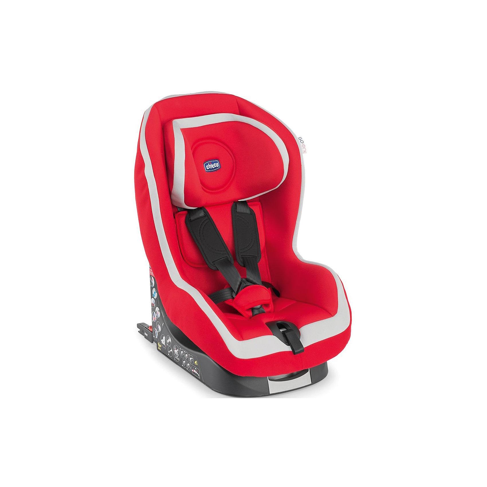 Автокресло CHICCO Go-One isofix, 9-18 кг, красныйГруппа 1 (От 9 до 18 кг)<br>Автокресло предназначено для перевозки детей от 1 года до 4 лет в автомобиле. <br>Безопасность при движении обеспечивает противоударная конструкция с прослойкой, которая минимизирует силу удара. В автокресло встроен собственный ремень безопасности TopTether, который имеет единую систему натяжения и регулируется по росту ребенка. У подголовника автокресла 6 позиций, установить в одну из них можно легко, одним движением, благодаря эксклюзивной системе безопасности. Сидение удобное, широкое и комфортное, имеет 5 разных положений. Мягкая обивка чехла выполнена из качественных дышащих тканей. Новые очень крепкие плечевые ремни не скручиваются, что обеспечит малышу необходимый комфорт. Чехол съёмный, его можно стирать без задействования ремней, что позволит сэкономить время и предупреждает риск последующей неправильной установки ремней.<br>Система Isofix позволяет установить детское автокресло в машину, не используя штатные ремни безопасности автомобиля.<br><br>Особенности:<br>- Предназначено для детей от 9 до 18 кг (примерно от 1 года до 4 лет).<br>- 2 способа крепления - штатным автомобильным ремнем и при помощи системы Isofix.<br>- Установка по ходу движения<br>- Прочная конструкция.<br>- Массивная пластиковая платформа со спинкой.<br>- Якорный ремень Top Tether.<br>- Направляющие для штатного ремня.<br>- Глубокие боковины.<br>- 5 положений ложа по наклону.<br>- Внутренний регулируемый подголовник (6 положений).<br>- 5-точечный ремень безопасности с плечевыми накладками.<br>- Автоматическое изменение высоты ремней безопасности.<br>- При регулировке подголовника возможность снятия чехлов без демонтажа ремней безопасности.<br>- чехлы можно стирать при 30С<br>- соответствует нормам ECE R44/04<br><br>Дополнительная информация:<br><br>- Цвет: Красный.<br>- Вес ребенка: до 18 кг.<br>- Материал: пластик, полиэстер.<br>- Параметры: 41х67х49 см.<br>- Вес в упаковке: 14,5 кг.<br><br>Купить  автокресло G