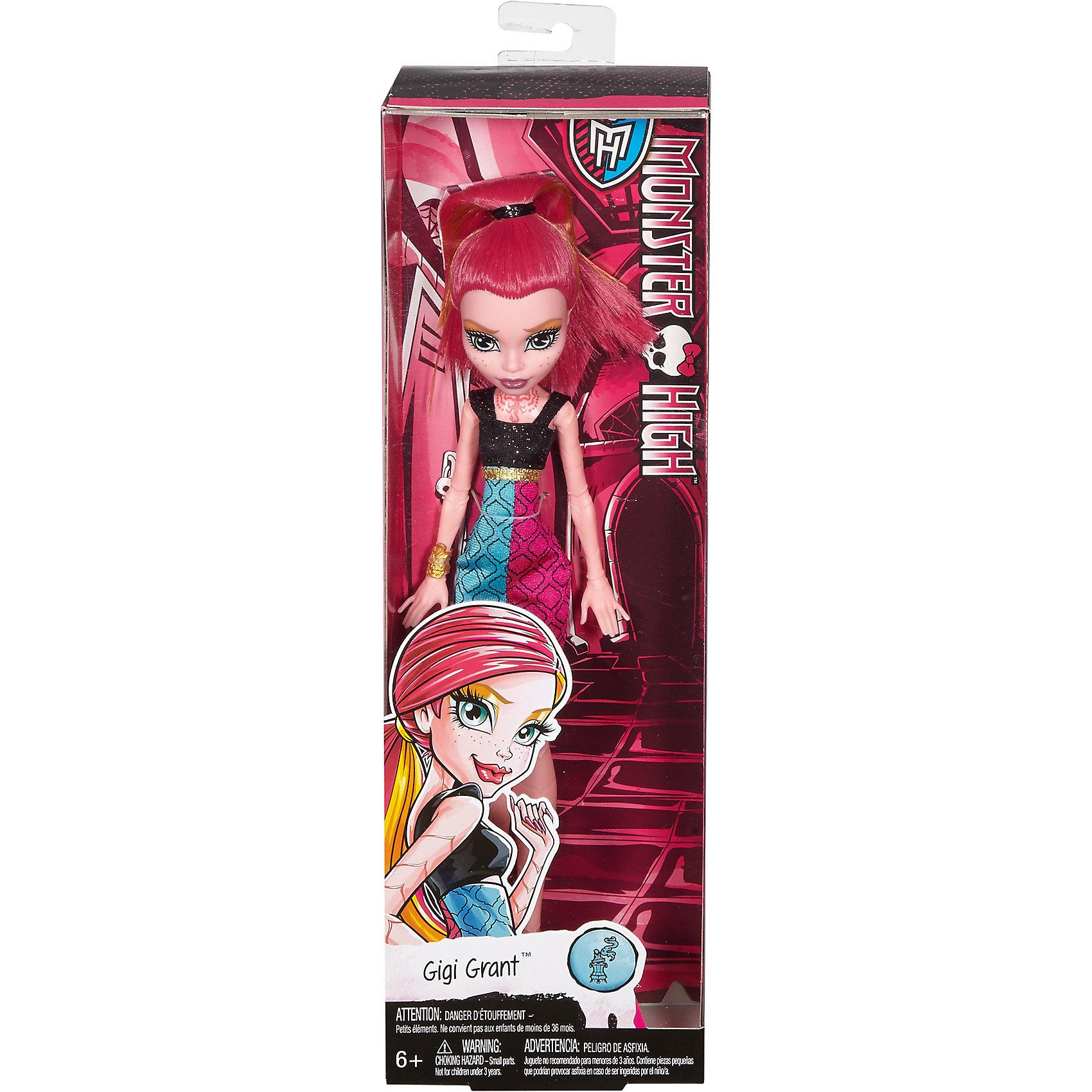 Базовая кукла Джиджи Грант Monster HighПопулярные игрушки<br>Базовая кукла Джиджи Грант Monster High – это отличный подарок для маленькой поклонницы школы Monster High!<br>Дочь могущественного джина из волшебной лампы – Джиджи Грант предстала перед нами в новом, скромном и стильном обличии. Она готова к занятиям в своей жуткой школе — и к леденящим кровь приключениям за ее пределами. Кукла одета в трехцветное платье с завышенной талией, на ногах - умопомрачительные желтые туфли с загнутыми носами и на огромном каблуке. Тщательно продуманный образ дополняют яркие желтые браслеты и татуировка скорпиона на шее. Ее кожа на руках и ногах покрыта складками, как у скорпиона. У куклы броский макияж: тени золотисто-голубого цвета, губы окрашены в малиновый цвет. Ярко-розовые шикарные волосы с золотыми прядками собранные в высокий хвост можно расчесывать. В коленях игрушки находятся шарнирные механизмы, благодаря чему у куклы двигаются и сгибаются ноги. Локтевых шарниров нет. Кукла изготовлена из качественного, безопасного для детей материала.<br><br>Дополнительная информация:<br><br>- В комплекте: кукла; аксессуары<br>- Высота куклы: 26 см.<br>- Материал: пластик, текстиль<br><br>Базовую куклу Джиджи Грант Monster High можно купить в нашем интернет-магазине.<br><br>Ширина мм: 60<br>Глубина мм: 105<br>Высота мм: 330<br>Вес г: 238<br>Возраст от месяцев: 72<br>Возраст до месяцев: 144<br>Пол: Женский<br>Возраст: Детский<br>SKU: 4753059