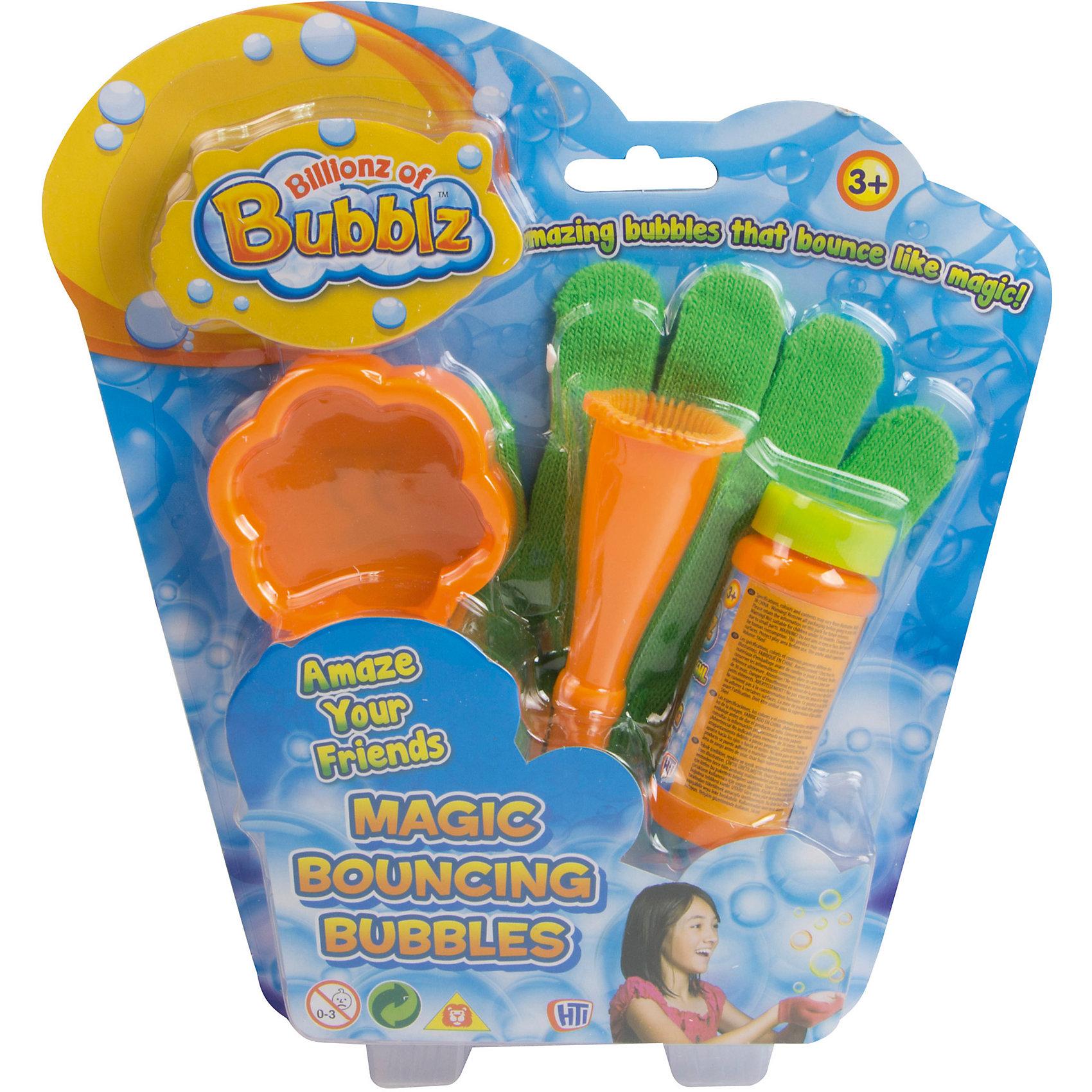 Волшебные прыгающие пузыри, HTIМыльные пузыри<br>Волшебные прыгающие пузыри, HTI<br><br>Характеристики:<br>- Состав: пластик, мыльный состав<br>- Объем: 56 мл.<br>- В набор входит: Мыльные пузыри, конус, блюдце, перчатка<br><br>Волшебные прыгающие пузыри от HTI (Ейч Ти Ай) превратят надувание пузырей в еще более увлекательную игру. Специальный конус и блюдце помогут выдувать пузыри разных размеров. Специальная перчатка позволяет трогать пузыри и не лопать их. Можно отбивать перчаткой пузыри, заставляя их прыгать. В помощью нескольких наборов можно передавать пузыри из рук в руки. Игра с пузырями поможет развить моторику рук, восприятие цветов, координацию движений и подарит много радости.<br><br>Волшебные прыгающие пузыри, HTI (Ейч Ти Ай) можно купить в нашем интернет-магазине.<br>Подробнее:<br>• Для детей в возрасте: от 3 до 10 лет <br>• Номер товара: 4753360<br>Страна производитель: Китай<br><br>Ширина мм: 250<br>Глубина мм: 43<br>Высота мм: 150<br>Вес г: 150<br>Возраст от месяцев: 36<br>Возраст до месяцев: 180<br>Пол: Унисекс<br>Возраст: Детский<br>SKU: 4753360