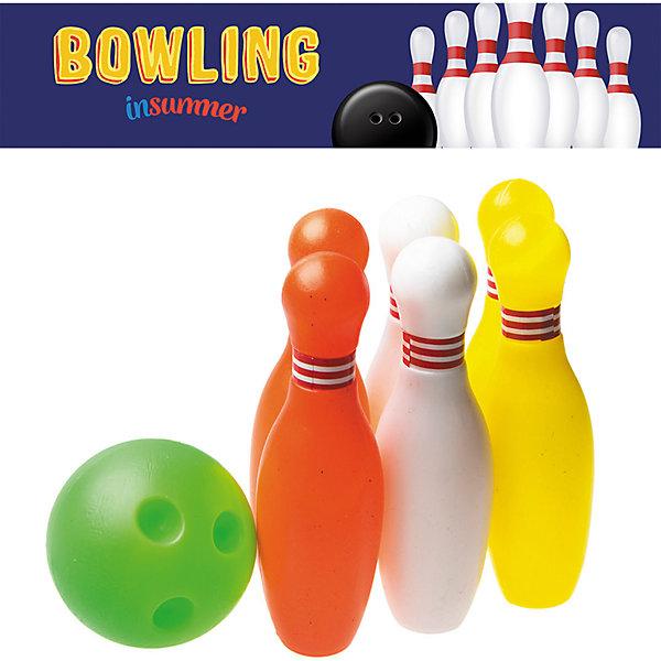 Набор для игры в боулинг Страйк в сетке, InSummerИгровые наборы<br>Страйк - набор для игры в боулинг, состоящий из семи предметов. Правила игры очень просты: нужно выставить разноцветные кегли и попытаться сбить их мячом. Игра в боулинг дома никогда не даст ребенку заскучать!<br><br>Дополнительная информация:<br>В наборе: 6 кеглей(2 красные, 2 белые, 2 желтые), мяч<br>Материал: пластик<br>Высота кеглей: 11 см<br>Вес: 350 грамм<br>Набор для игры в боулинг Страйк вы можете купить в нашем интернет-магазине.<br>Ширина мм: 100; Глубина мм: 1100; Высота мм: 120; Вес г: 350; Возраст от месяцев: 36; Возраст до месяцев: 192; Пол: Унисекс; Возраст: Детский; SKU: 4753597;
