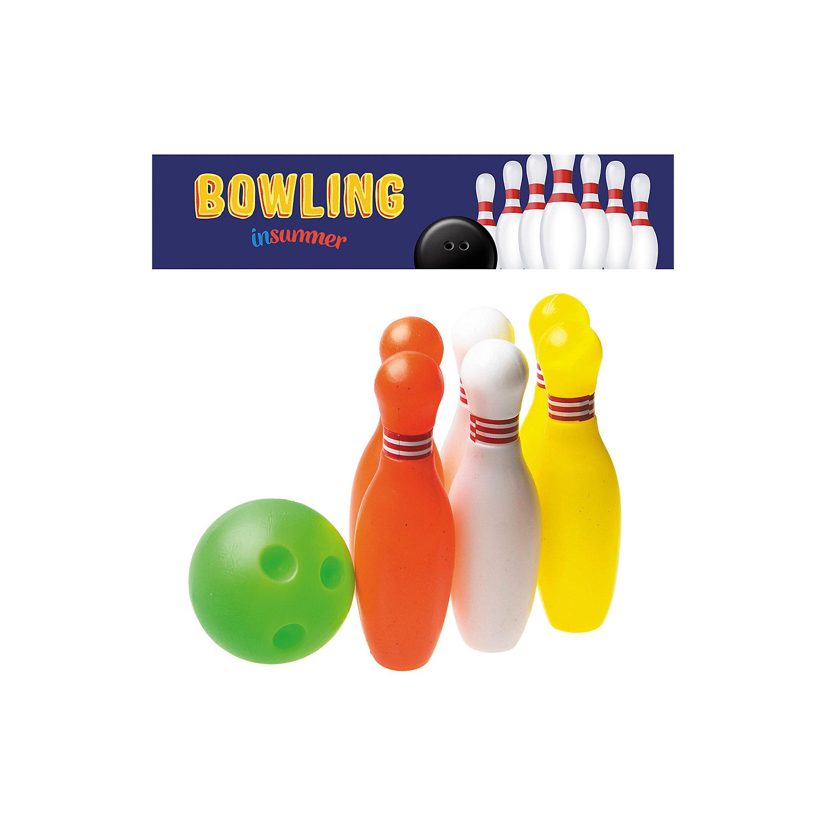 Набор для игры в боулинг Страйк в сетке, InSummerИгровые наборы<br>Страйк - набор для игры в боулинг, состоящий из семи предметов. Правила игры очень просты: нужно выставить разноцветные кегли и попытаться сбить их мячом. Игра в боулинг дома никогда не даст ребенку заскучать!<br><br>Дополнительная информация:<br>В наборе: 6 кеглей(2 красные, 2 белые, 2 желтые), мяч<br>Материал: пластик<br>Высота кеглей: 11 см<br>Вес: 350 грамм<br>Набор для игры в боулинг Страйк вы можете купить в нашем интернет-магазине.<br><br>Ширина мм: 100<br>Глубина мм: 1100<br>Высота мм: 120<br>Вес г: 350<br>Возраст от месяцев: 36<br>Возраст до месяцев: 192<br>Пол: Унисекс<br>Возраст: Детский<br>SKU: 4753597