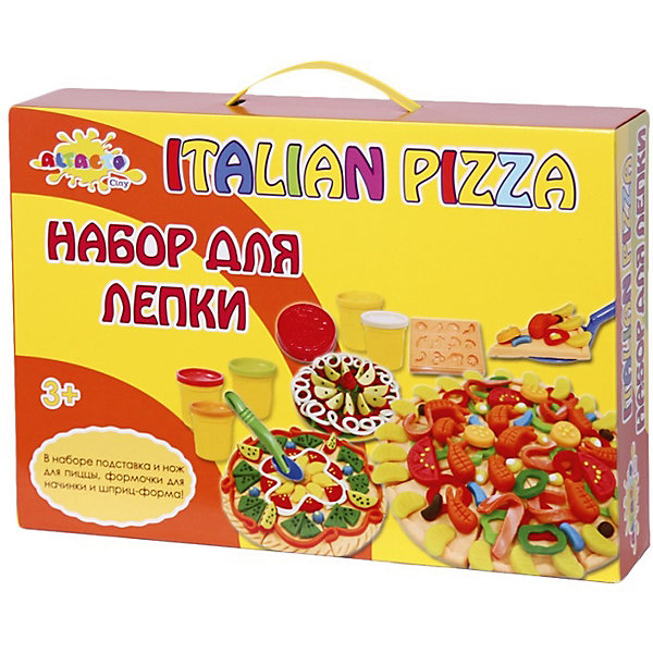 Набор для лепки Волшебство кулинарии - Итальянская ПиццерияНаборы для лепки<br>Яркая масса для лепки из баночек творит чудеса - из неё можно сделать точную мини-копию аппетитной пиццы! Ребёнок сам может выбрать, какую пиццу испечь - с морепродуктами, колбасой, фруктами или всем сразу! В наборе специальный нож и подставка для пиццы, формочки для начинки. Кроме того, содержимое баночек с пластилином можно смешивать, получая новые интересные цвета!<br><br>Лепка развивает у детей творческие способности, навыки моделирования, мелкую моторику. Все материалы экологически безопасны.<br><br>Дополнительная информация:<br><br>- Материал: натуральный состав для лепки, пластик, бумага.<br>- Возраст ребёнка: от 3 до 6 лет.<br>- В наборе: 6 баночек массы для лепки по 85 гр., формочки для начинки, подставка и нож для пиццы, шприц - форма, скалка для теста, стек. <br>- Состав массы для лепки: вода, мука пшеничная, ванильный экстракт, белый вазелин, хлористый натрий (соль), консервант (сорбат калия), хлорид кальция, пигмент цвета.<br>- Размер упаковки: 37x26x7,5 см.<br><br>Купить набор для лепки Волшебство кулинарии - Итальянская Пиццерия можно в нашем магазине.<br>Ширина мм: 370; Глубина мм: 260; Высота мм: 75; Вес г: 1100; Возраст от месяцев: 36; Возраст до месяцев: 72; Пол: Унисекс; Возраст: Детский; SKU: 4753806;