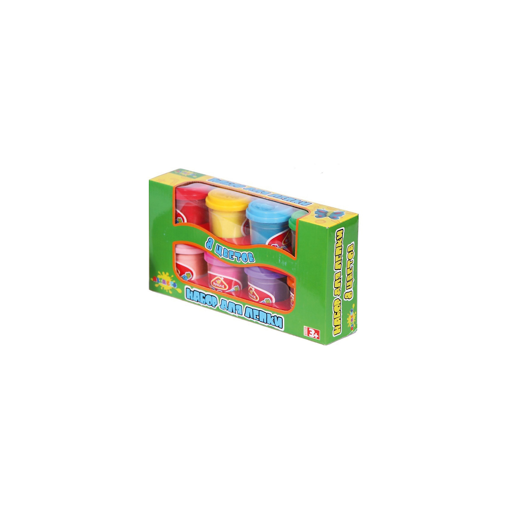 Масса для лепки , 8 цветовНаборы для лепки<br>Целых восемь ярких оттенков цветов - оптимальный из вариантов выбор набора для лепки, благодаря которому ребёнок создаст себе новые игрушки!<br>Консистенция состава для лепки приятна ощупь, практична в использовании и не пачкает ручки деткам. Материал набора не содержит химических красителей - раздражителей и абсолютно безопасен для детского здоровья.<br><br>Лепка развивает воображение, творческие способности ребёнка и мелкую моторику рук.<br><br>Дополнительная информация:<br><br>- Материал: натуральный состав для лепки, пластик.<br>- Возраст ребёнка: от 3 до 6 лет.<br>- В наборе: 8 баночек массы для лепки по 56,7 гр.<br>- Состав массы для лепки: вода, мука пшеничная, ванильный экстракт, белый вазелин, хлористый натрий (соль), консервант (сорбат калия), хлорид кальция, пигмент цвета.<br>- Размер упаковки: 24,5x13x5,5 см.<br><br>Купить массу для лепки можно в нашем магазине.<br><br>Ширина мм: 245<br>Глубина мм: 130<br>Высота мм: 55<br>Вес г: 688<br>Возраст от месяцев: 36<br>Возраст до месяцев: 72<br>Пол: Унисекс<br>Возраст: Детский<br>SKU: 4753810