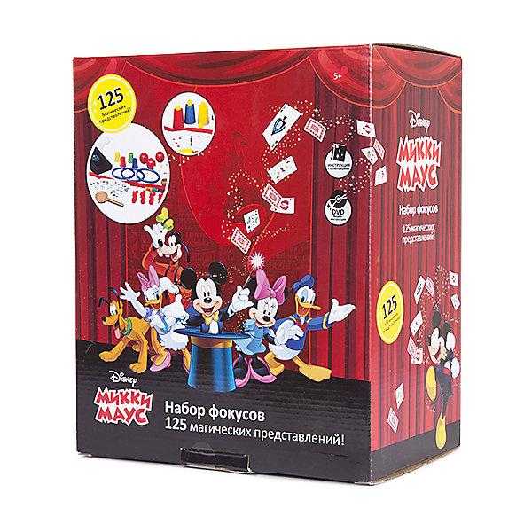 Набор для демонстрации фокусов Mickey Mouse (125 фокусов)Микки Маус и друзья<br>Такой набор для фокусов - отличный подарок для начинающих волшебников, поражающий воображение множеством приспособлений: карт, коробочек, кубиков, колец и даже шляпой!<br>Мастерское исполнение фокусов с наперстками и монетками, волшебной палочкой, магической вазой и всевозможные трюки на ловкость рук не вызовут сомнения, что перед Вами настоящий маленький фокусник и маг. Такие чудо превращения развивают творческое мышление, образное воображение, мелкую моторику и ловкость рук. <br>Набор выполнен из прочного и экологически чистого материала.<br><br>Дополнительная информация:<br><br>- Материал: нетоксичный пластик.<br>- Возраст ребёнка: от 6 лет.<br>- В наборе: 125 фокусов, шляпа фокусника, подробная инструкция, иллюстрированный диск DVD.<br>- Размер упаковки: 30x25x16,5 см.<br><br>Купить набор для демонстрации фокусов Mickey Mouse  можно в нашем магазине.<br><br>Ширина мм: 300<br>Глубина мм: 250<br>Высота мм: 165<br>Вес г: 700<br>Возраст от месяцев: 72<br>Возраст до месяцев: 192<br>Пол: Унисекс<br>Возраст: Детский<br>SKU: 4753817