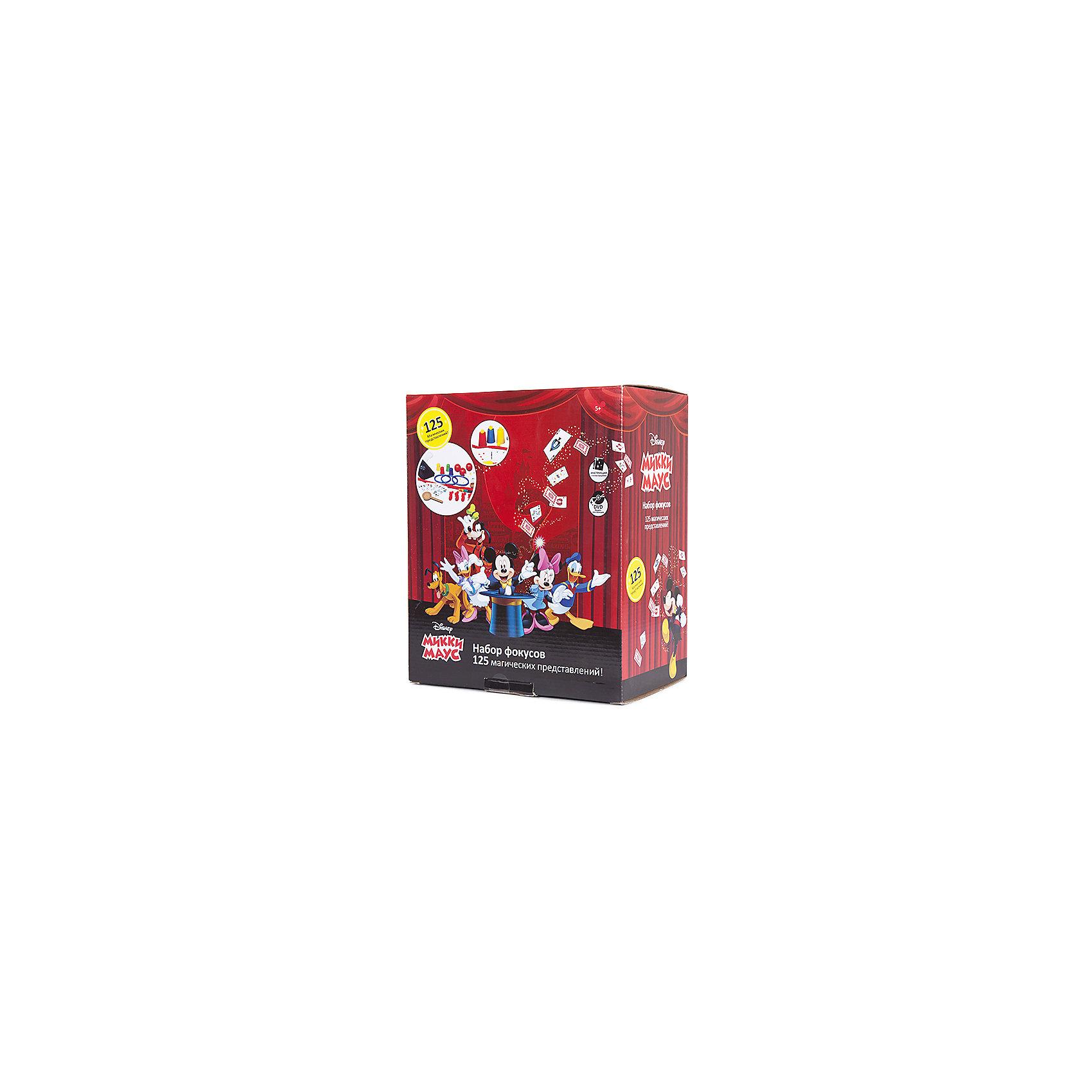 Набор для демонстрации фокусов Mickey Mouse (125 фокусов)Наборы для фокусов<br>Такой набор для фокусов - отличный подарок для начинающих волшебников, поражающий воображение множеством приспособлений: карт, коробочек, кубиков, колец и даже шляпой!<br>Мастерское исполнение фокусов с наперстками и монетками, волшебной палочкой, магической вазой и всевозможные трюки на ловкость рук не вызовут сомнения, что перед Вами настоящий маленький фокусник и маг. Такие чудо превращения развивают творческое мышление, образное воображение, мелкую моторику и ловкость рук. <br>Набор выполнен из прочного и экологически чистого материала.<br><br>Дополнительная информация:<br><br>- Материал: нетоксичный пластик.<br>- Возраст ребёнка: от 6 лет.<br>- В наборе: 125 фокусов, шляпа фокусника, подробная инструкция, иллюстрированный диск DVD.<br>- Размер упаковки: 30x25x16,5 см.<br><br>Купить набор для демонстрации фокусов Mickey Mouse  можно в нашем магазине.<br><br>Ширина мм: 300<br>Глубина мм: 250<br>Высота мм: 165<br>Вес г: 700<br>Возраст от месяцев: 72<br>Возраст до месяцев: 192<br>Пол: Унисекс<br>Возраст: Детский<br>SKU: 4753817
